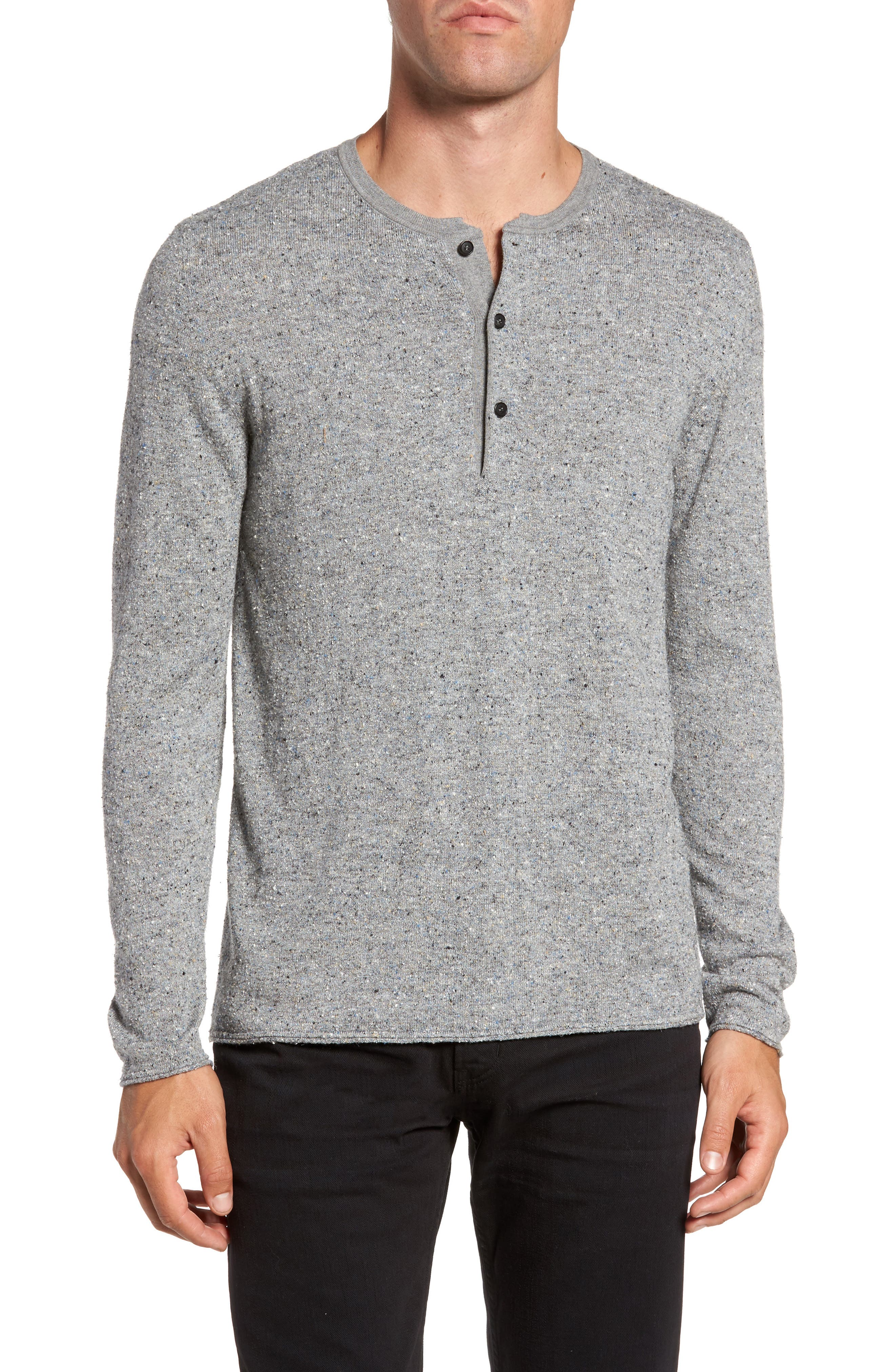 Speckled Henley Sweater,                         Main,                         color, Grey Mix