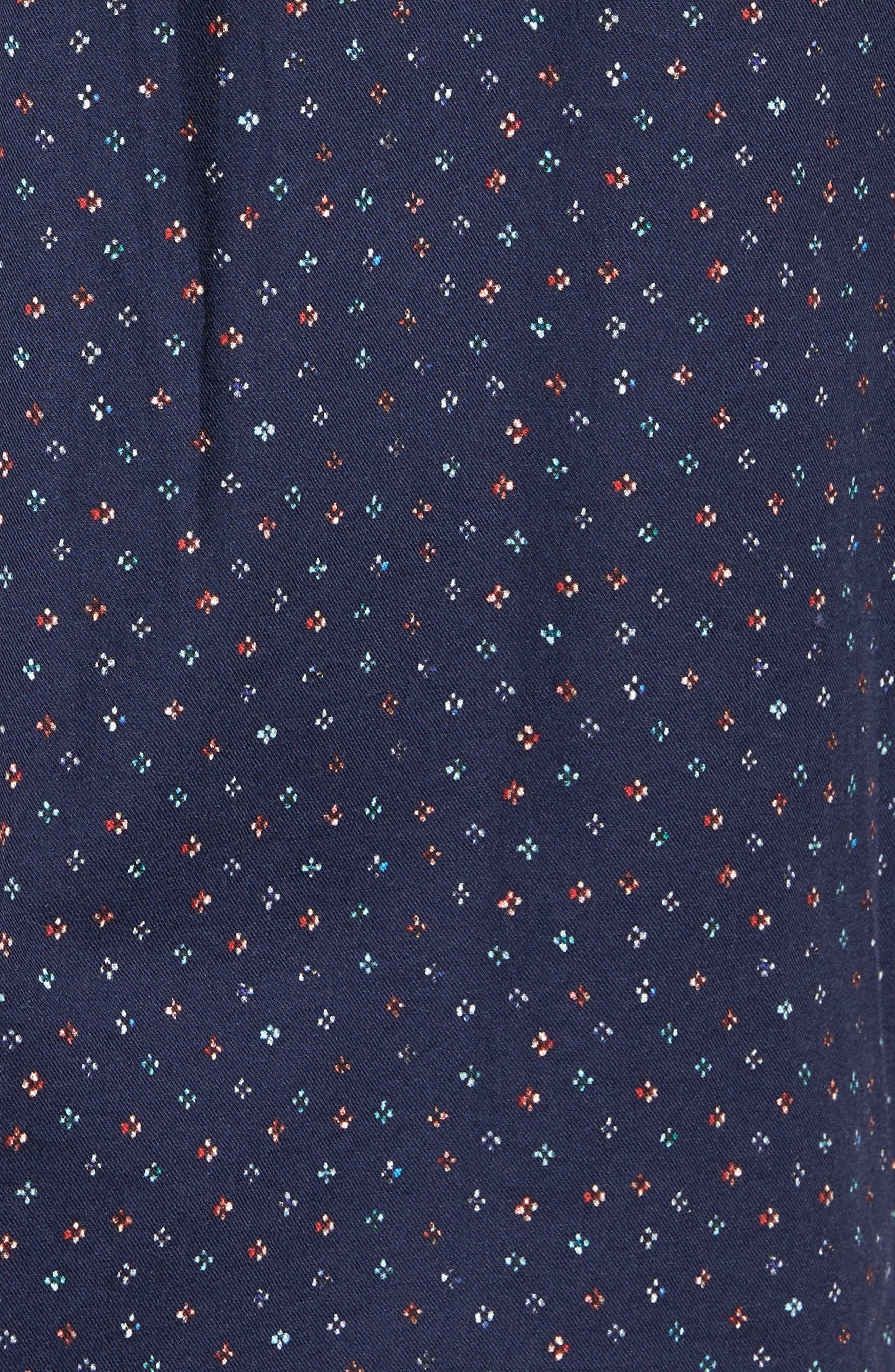 Regular Fit Floral Print Sport Shirt,                             Alternate thumbnail 5, color,                             Evening Blue