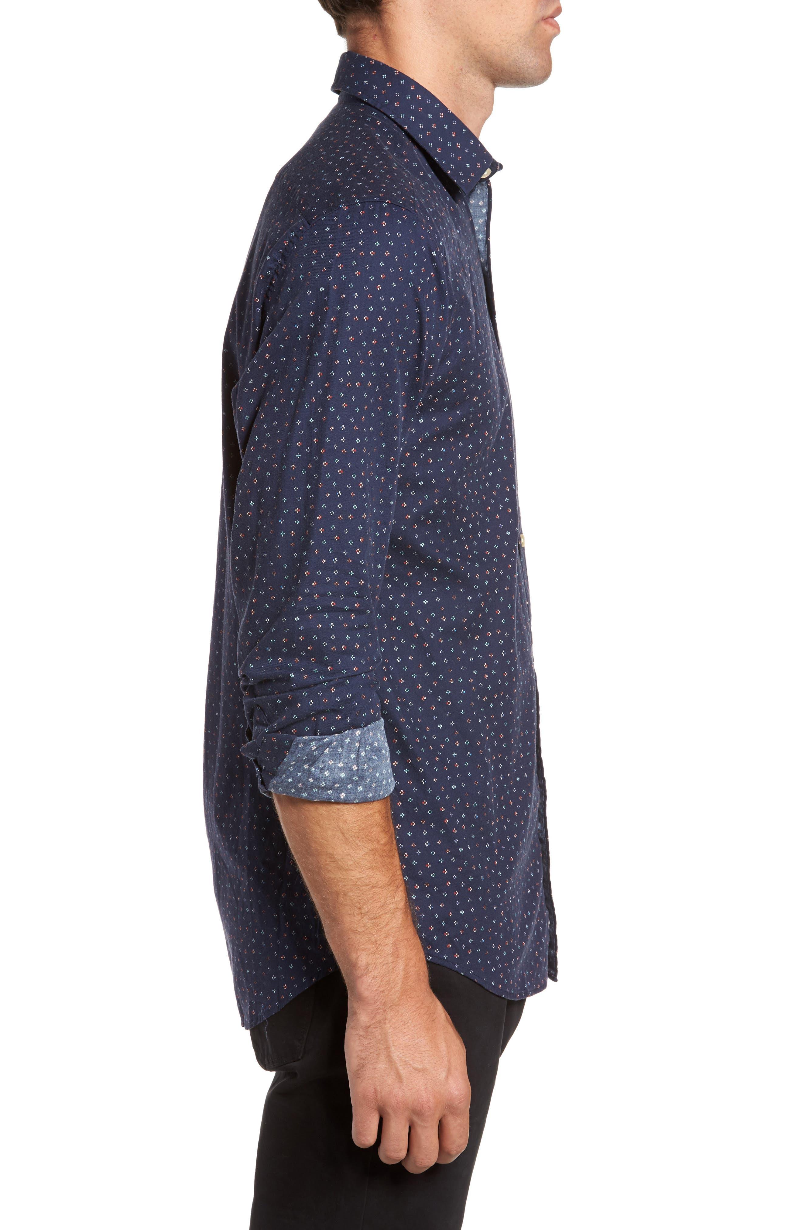 Regular Fit Floral Print Sport Shirt,                             Alternate thumbnail 3, color,                             Evening Blue