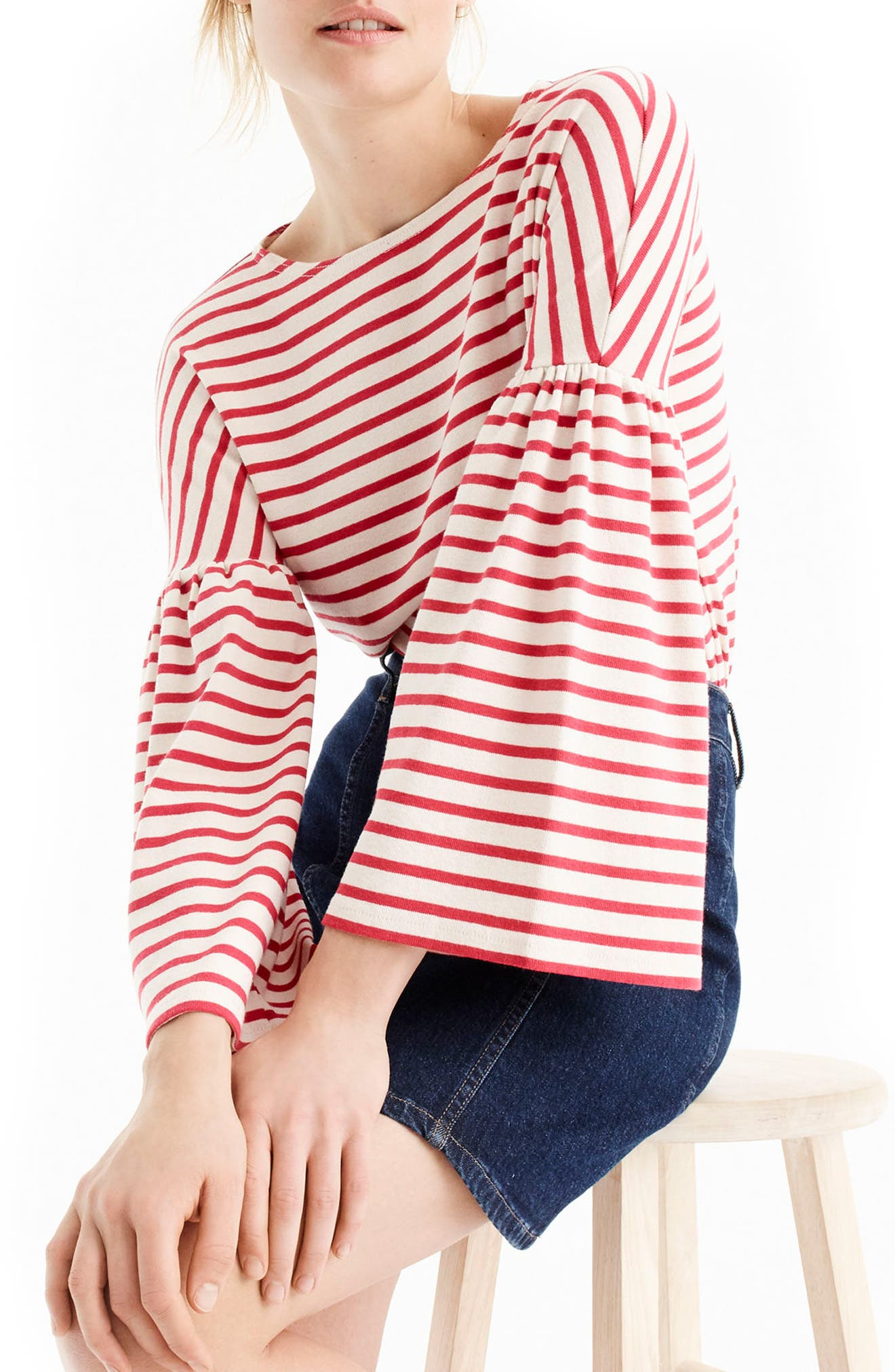 Bell Sleeve Stripe Tee,                             Main thumbnail 1, color,                             Palest Blush Poppy