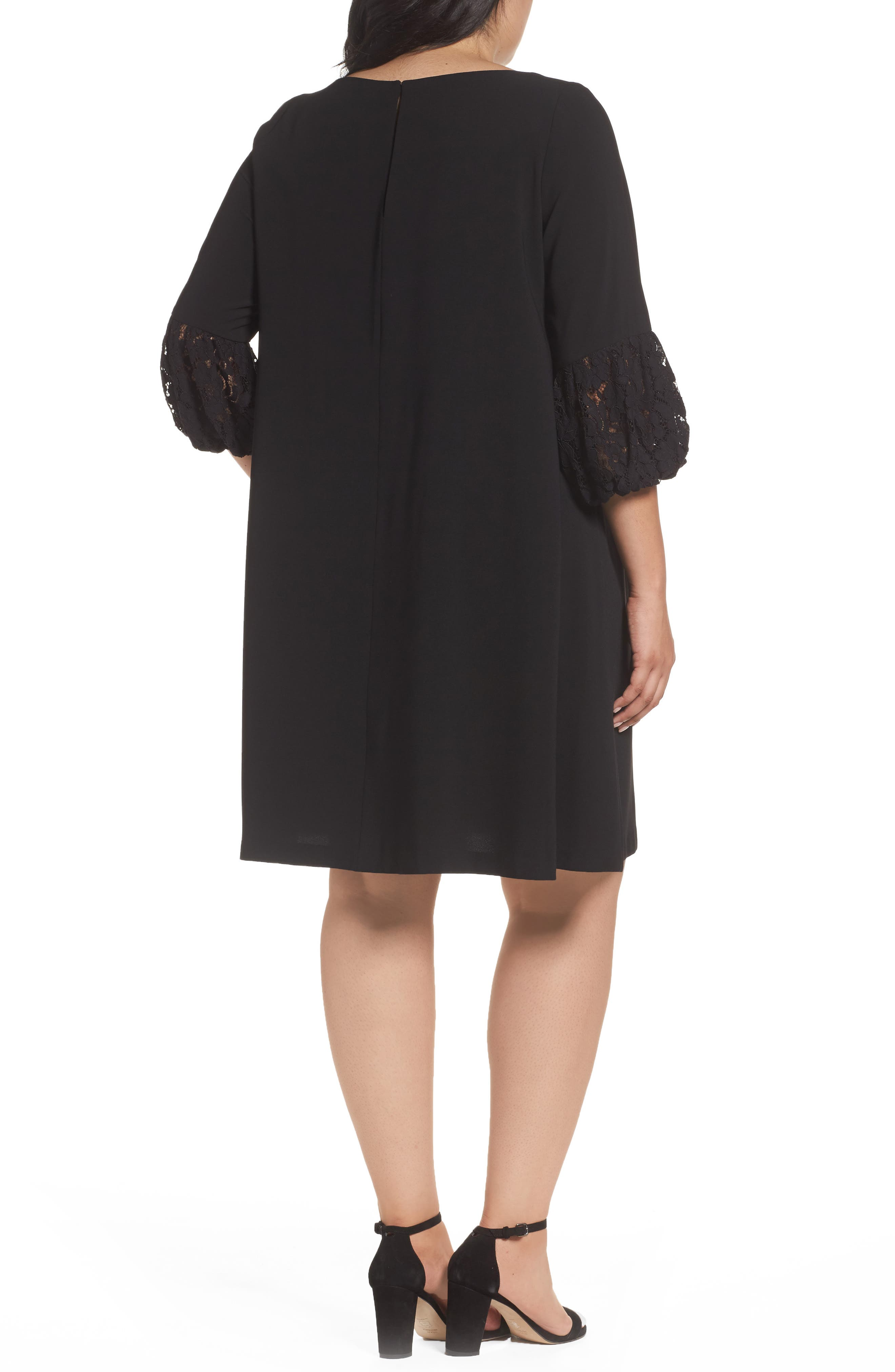 Lace Sleeve Trapeze Dress,                             Alternate thumbnail 2, color,                             Black
