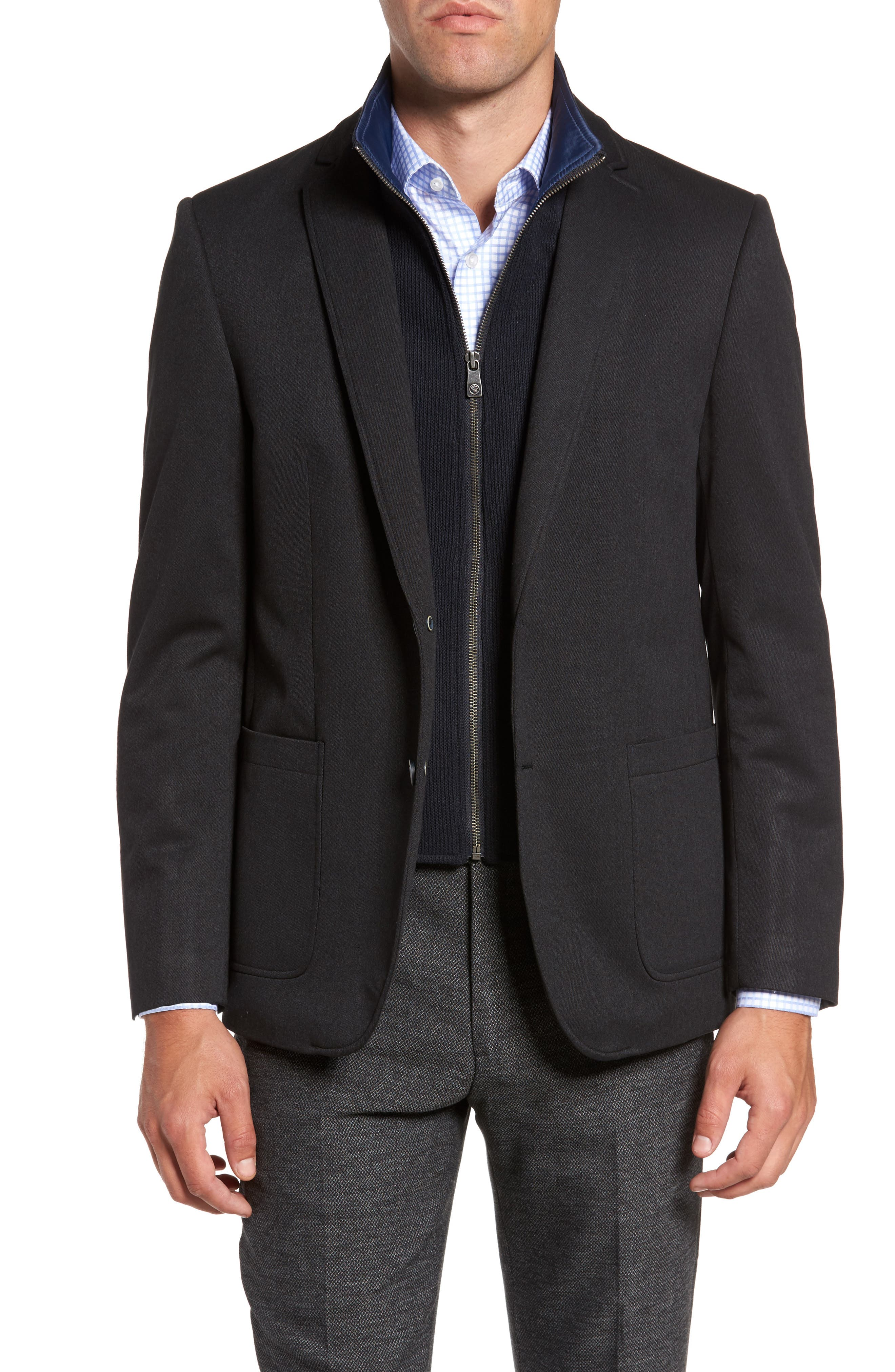Broderick Technical Outerwear Jacket with Detachable Knit Bib,                             Main thumbnail 1, color,                             Navy