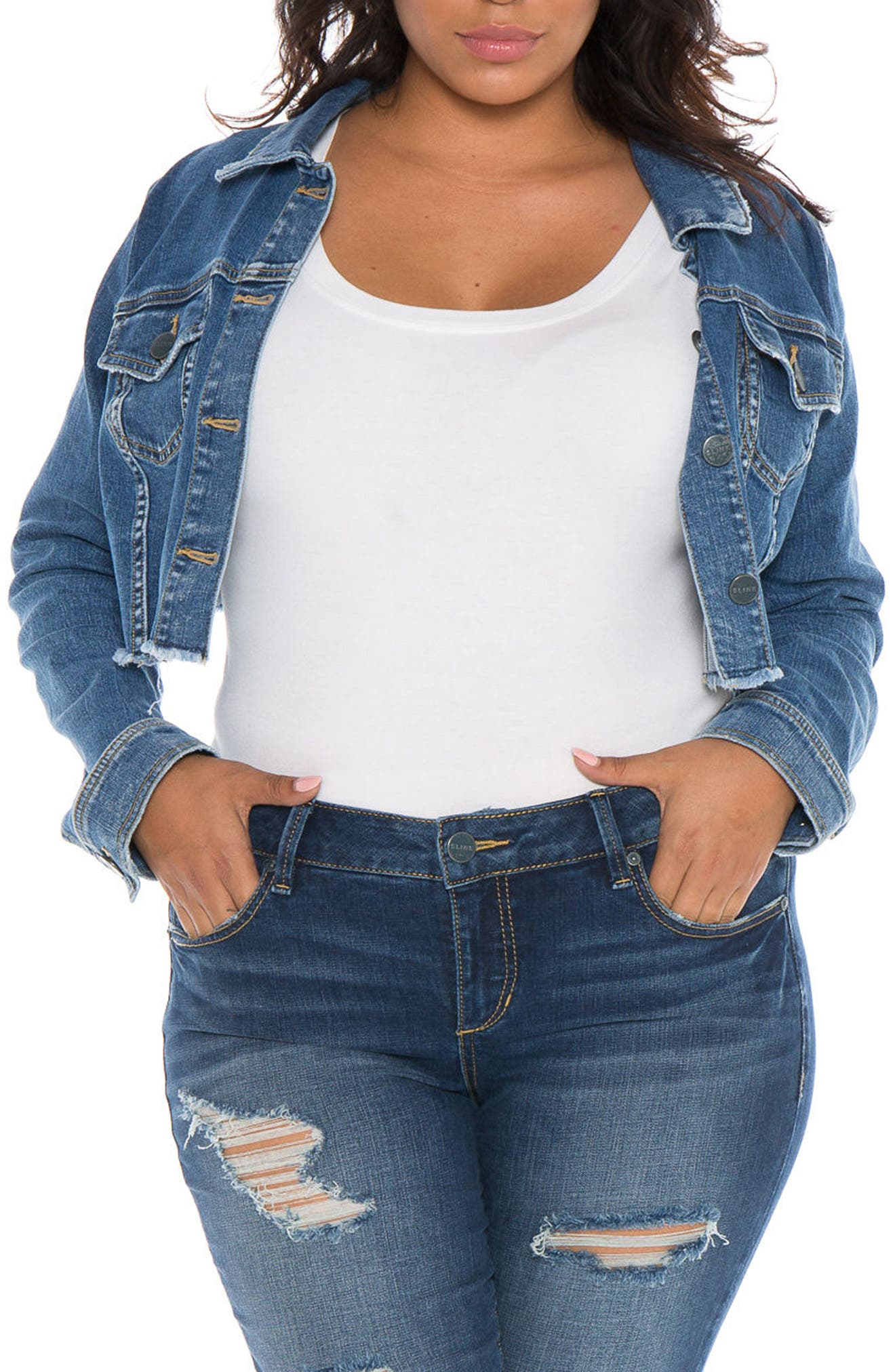 SLINK Jeans Fray Hem Crop Jacket (Plus Size)