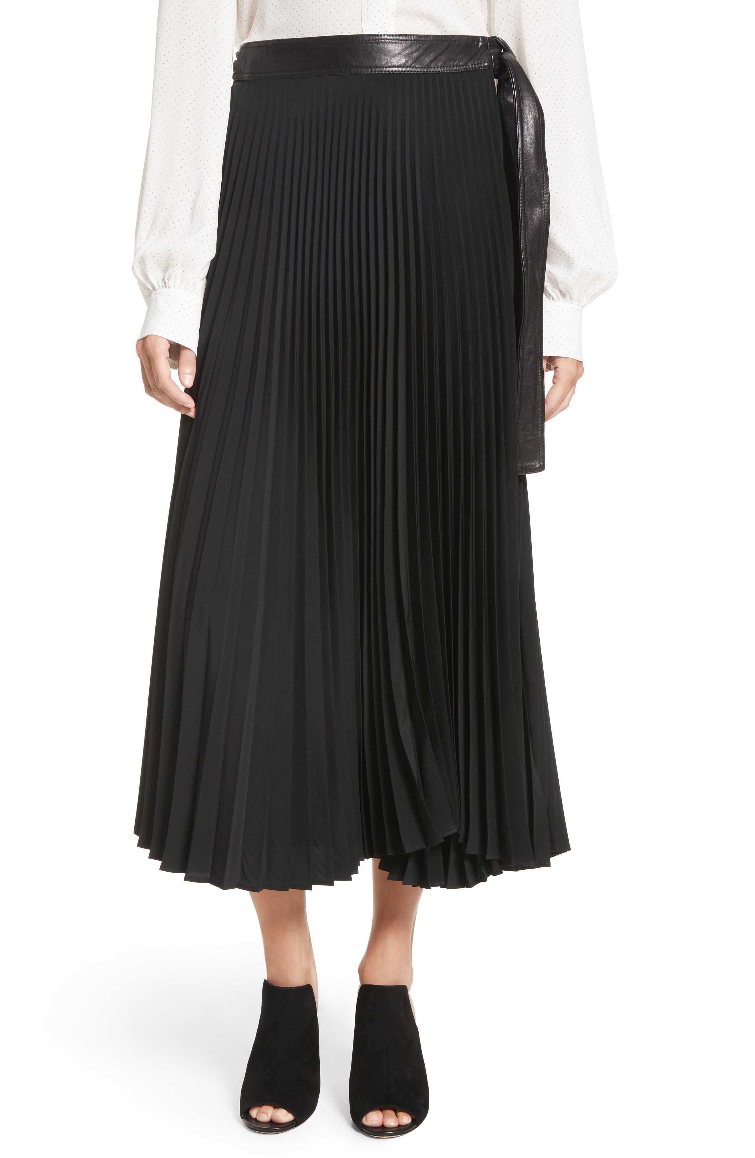 Anika Leather Trim Pleated Midi Skirt,                             Main thumbnail 1, color,                             Black