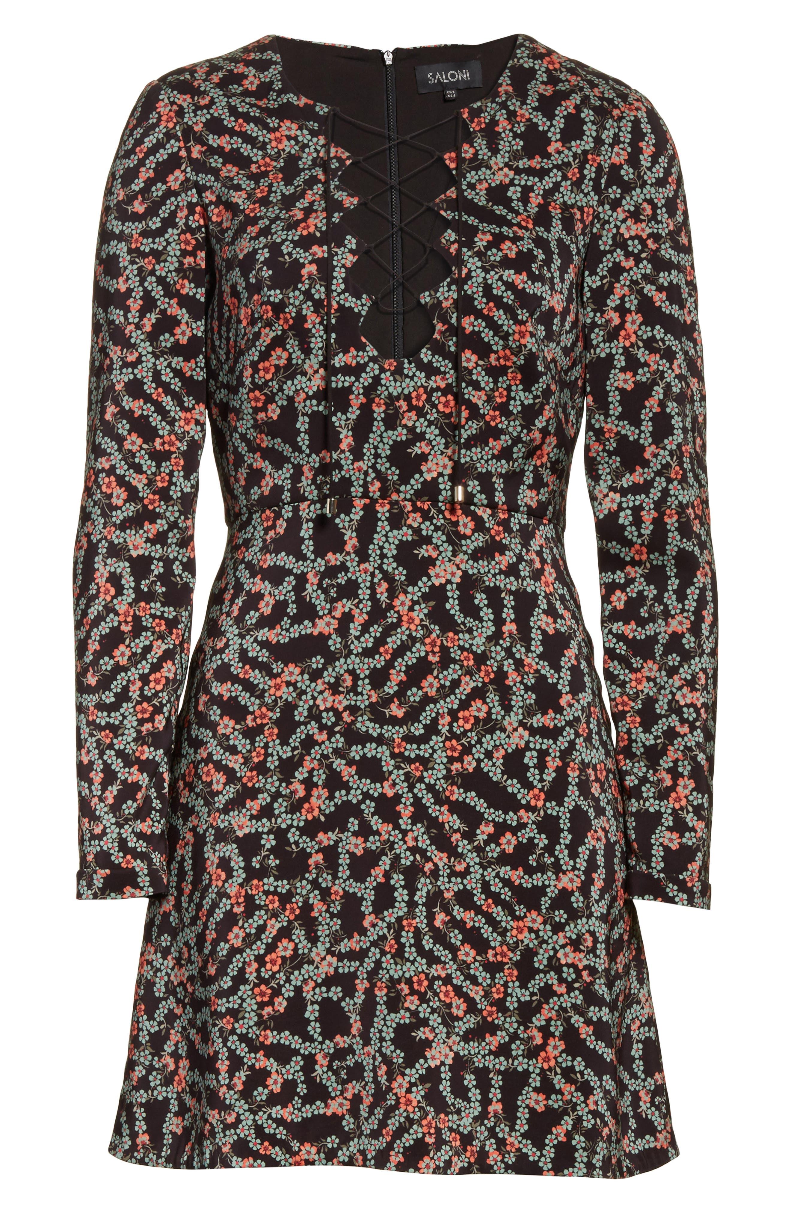 Alternate Image 6  - SALONI Nurul Floral Print Lace-Up Dress