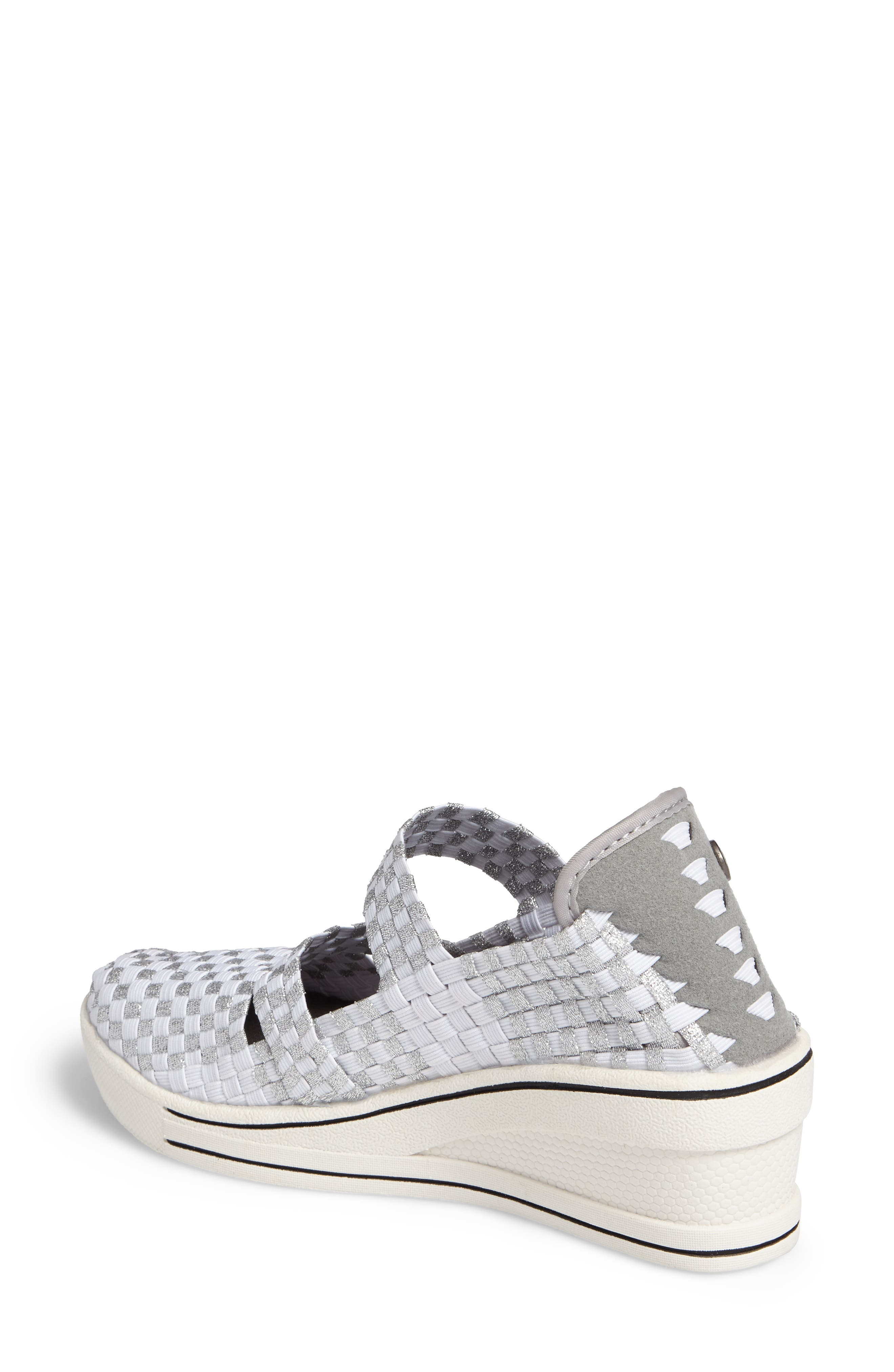 Frontier Woven Mary Jane Wedge,                             Alternate thumbnail 2, color,                             Metallic White/ Silver Fabric