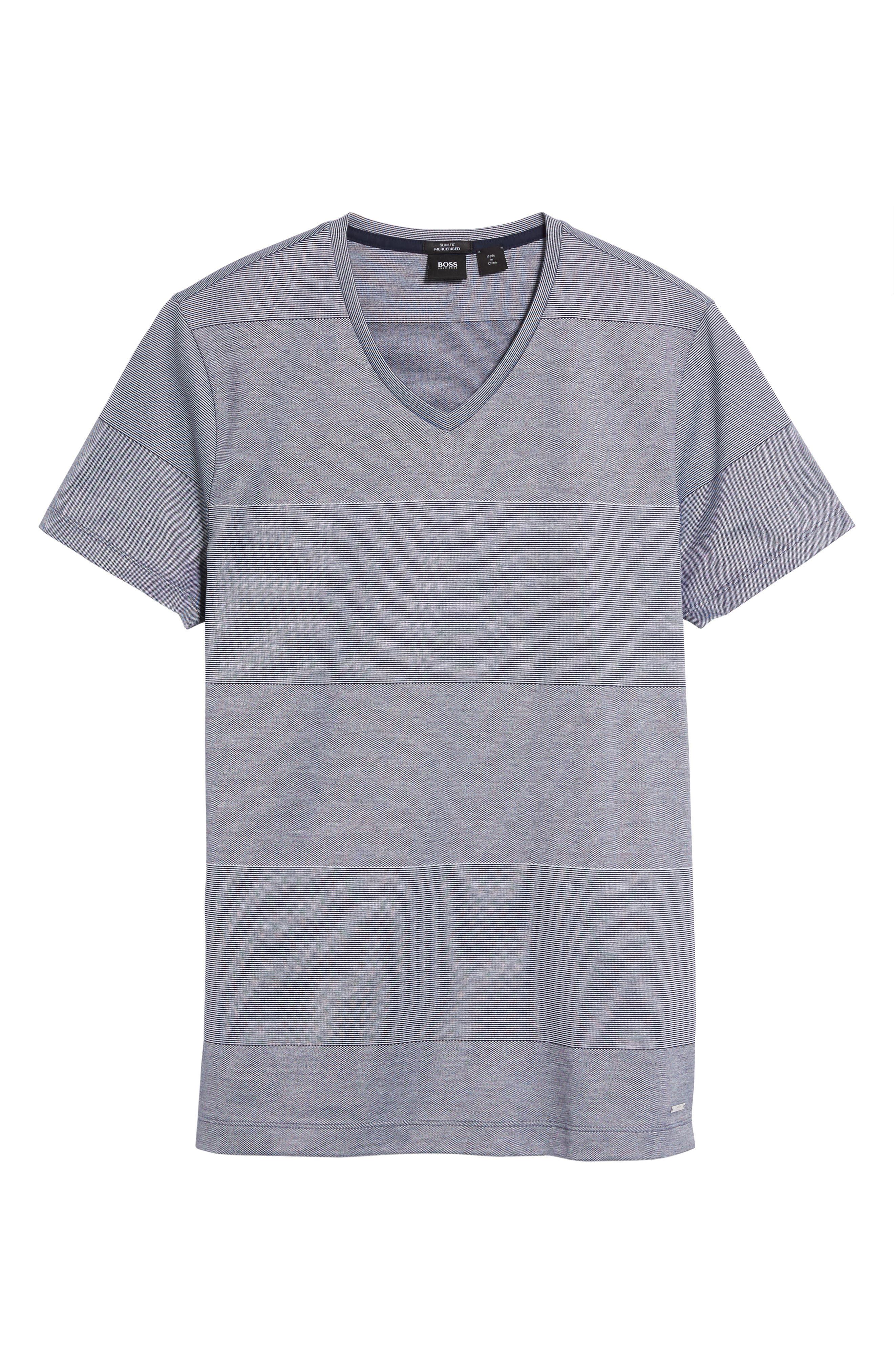 Alternate Image 5  - BOSS Slim Fit Stripe V-Neck T-Shirt
