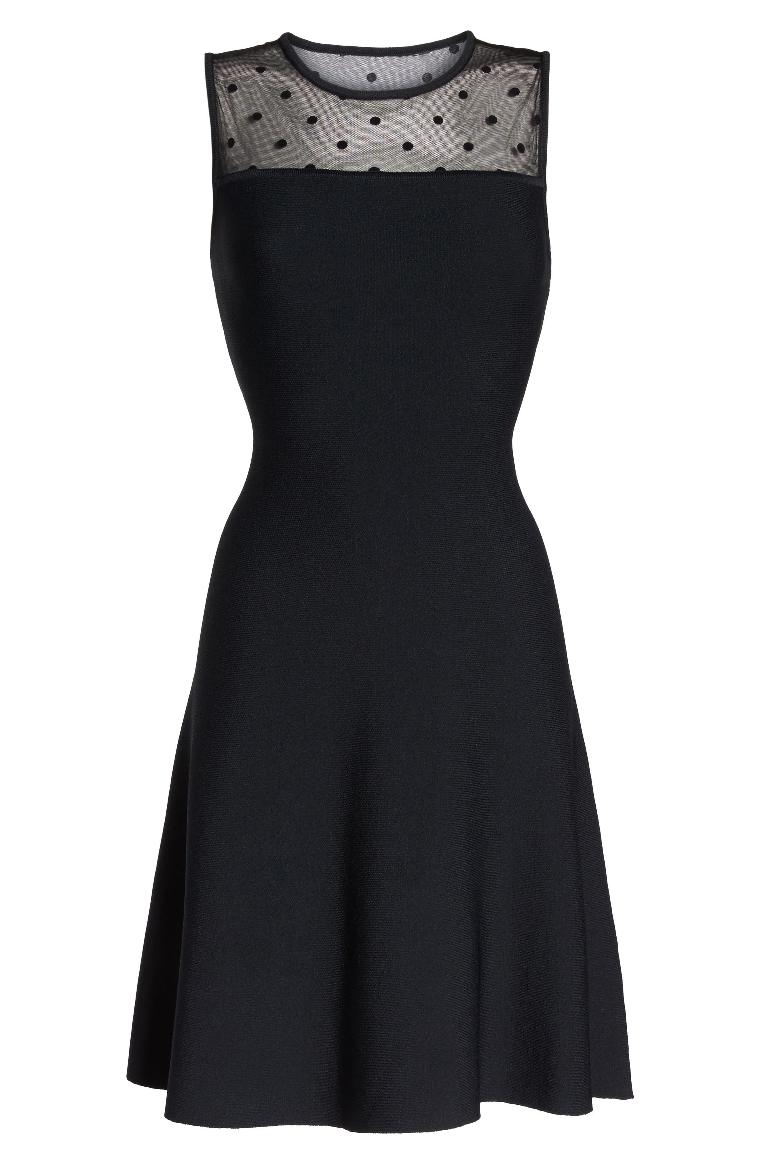 Illusion Yoke Fit & Flare Dress,                             Alternate thumbnail 6, color,                             Black