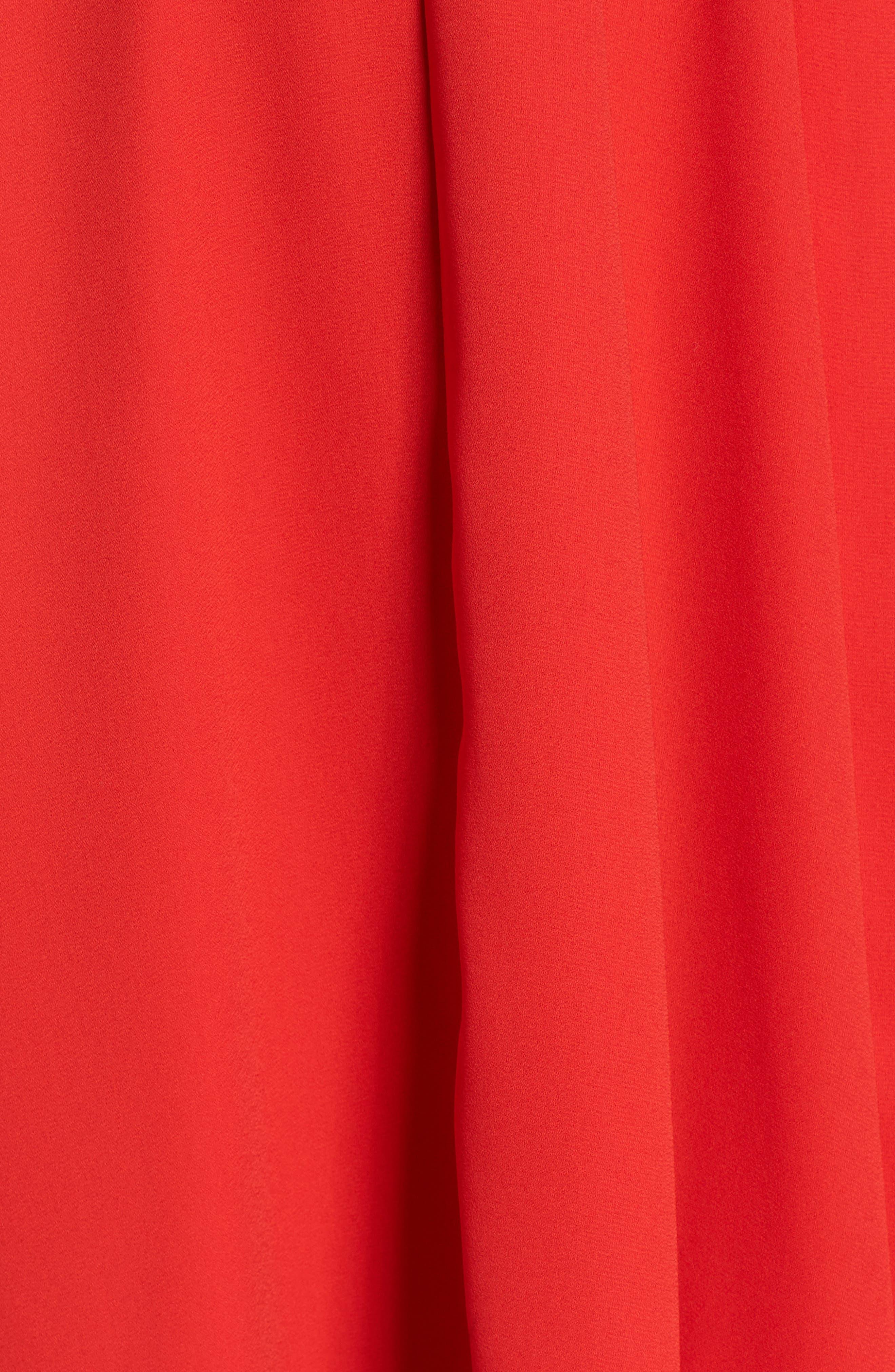 Asymmetrical Ruffle Dress,                             Alternate thumbnail 5, color,                             Red