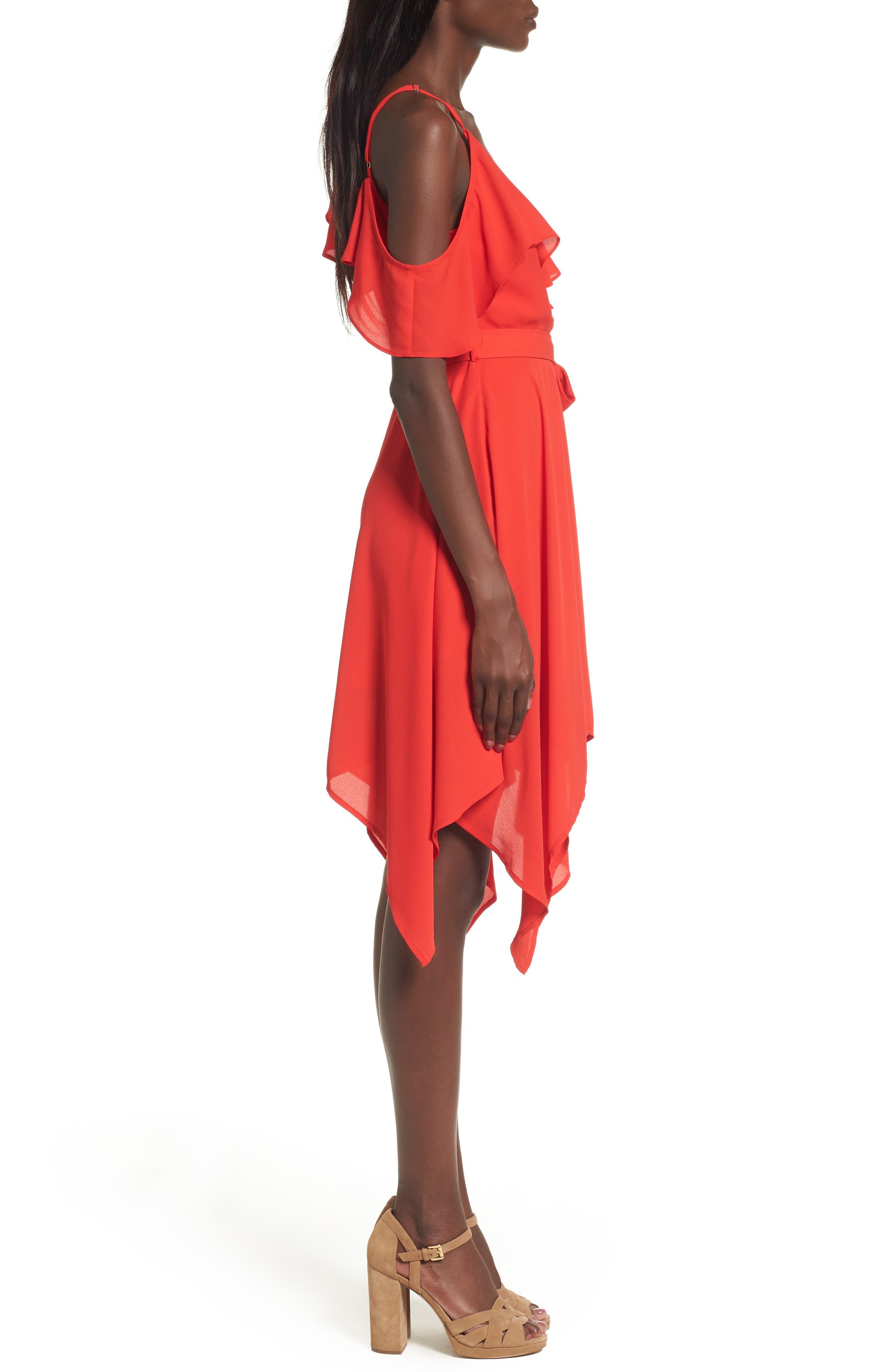 Asymmetrical Ruffle Dress,                             Alternate thumbnail 3, color,                             Red