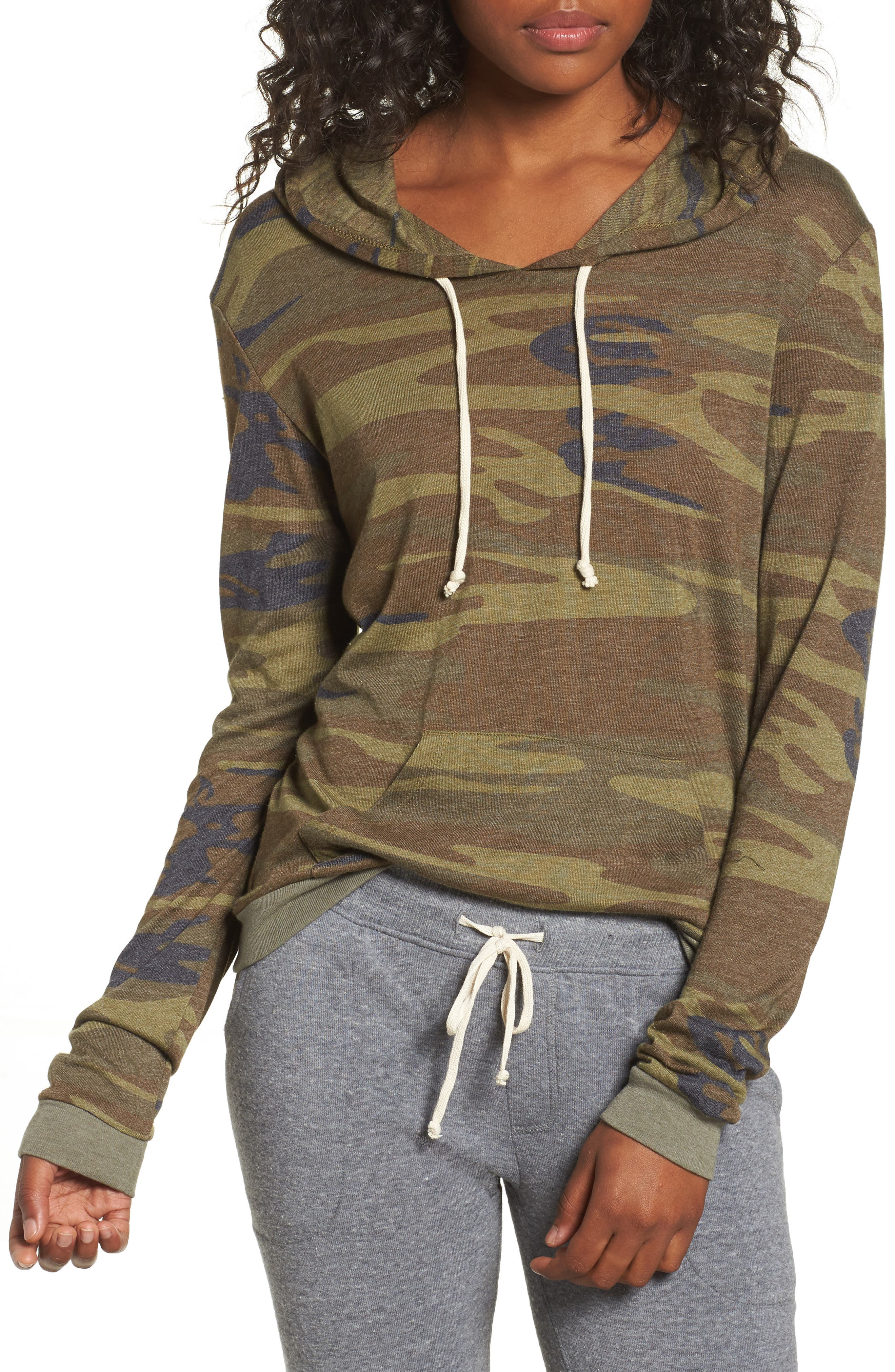 Camo Print Pullover Hoodie,                         Main,                         color, Camo