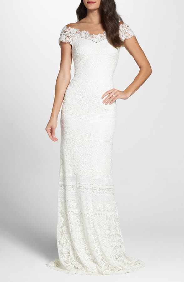 Tadashi Shoji Off the Shoulder Illusion Lace Gown | Nordstrom