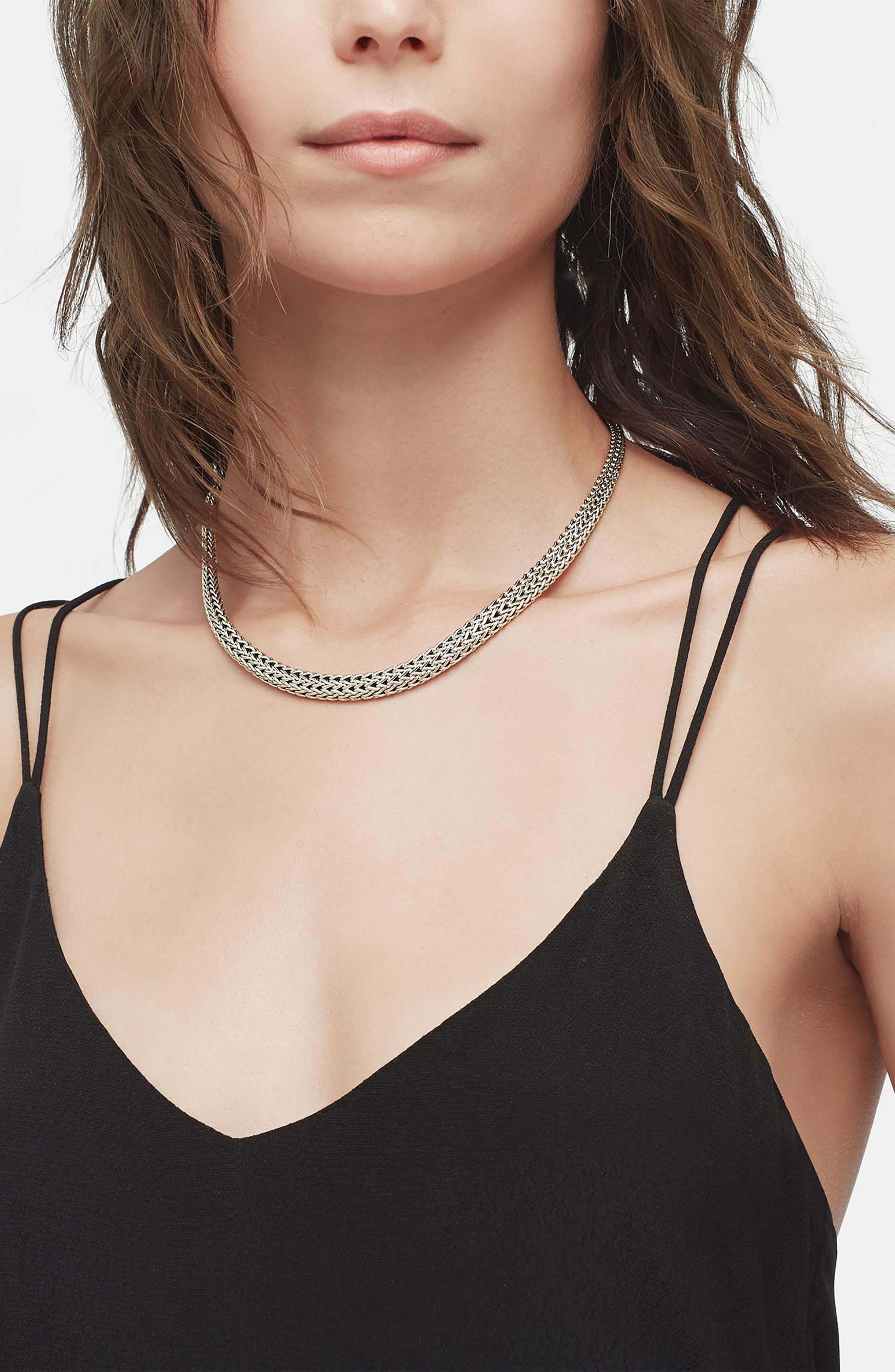 Classic Chain Collar Necklace,                             Alternate thumbnail 2, color,                             Silver