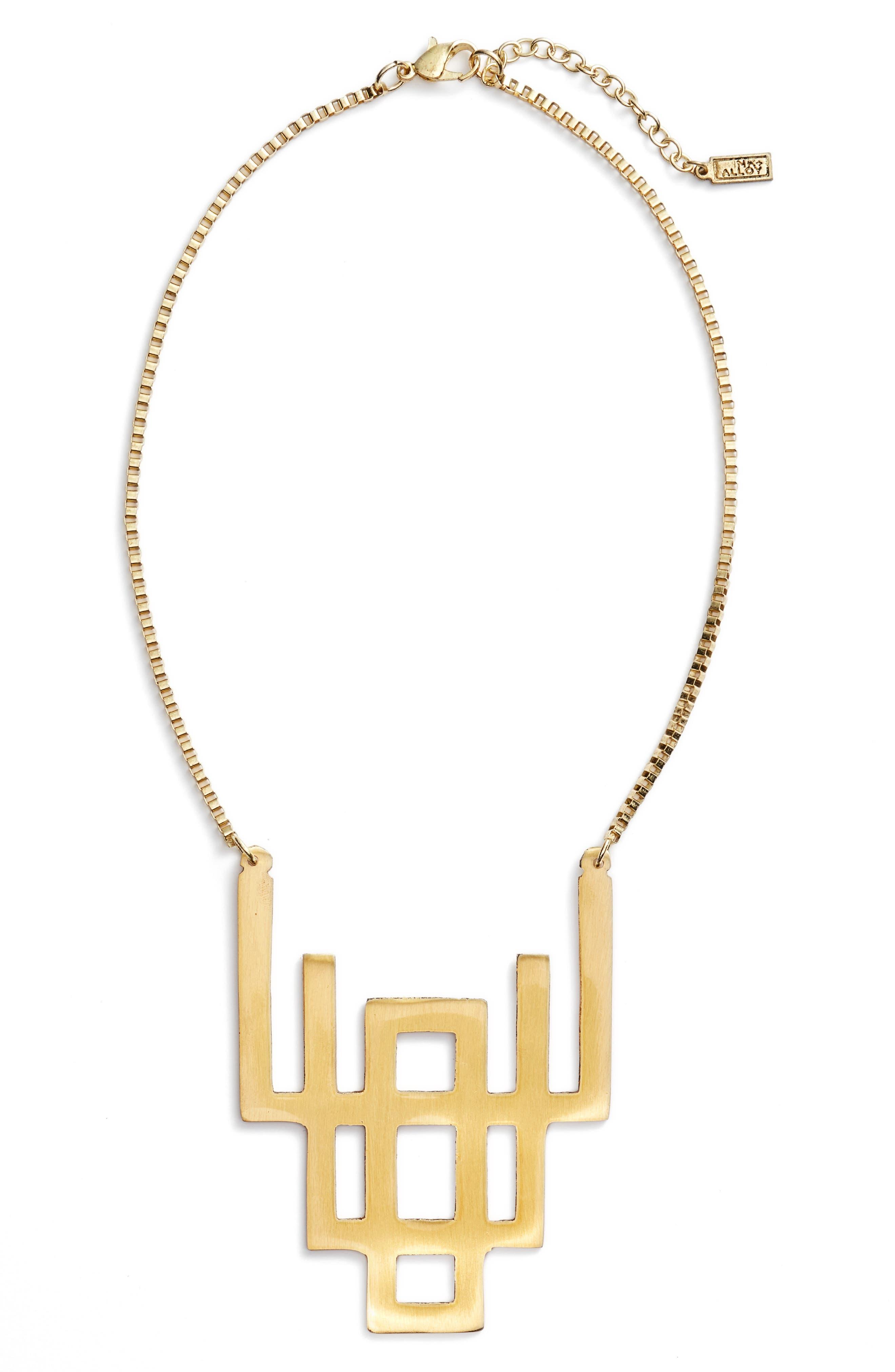 Geometric Pendant Necklace,                         Main,                         color, Gold