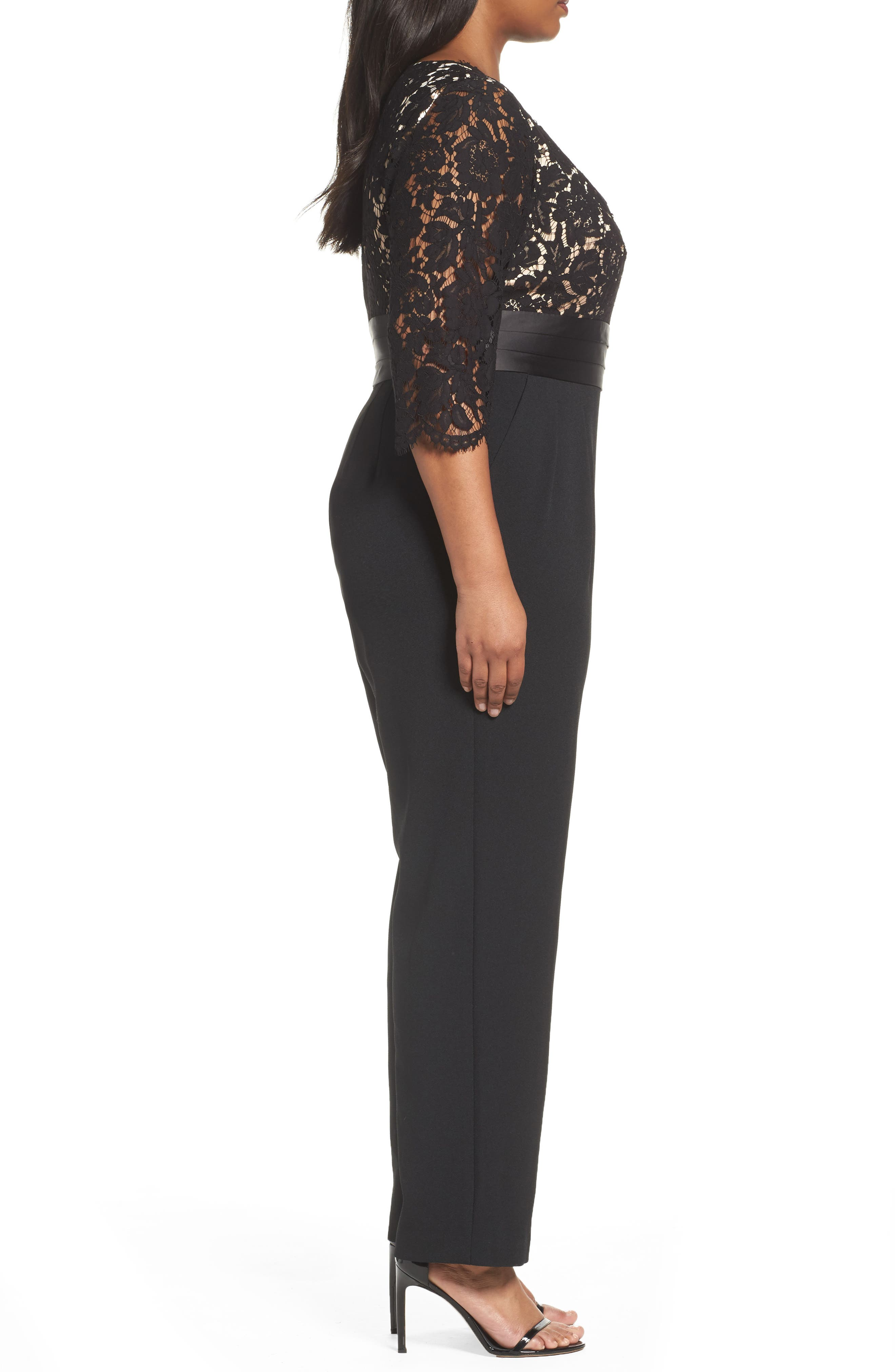 Alternate Image 3  - Eliza J Lace Bodice Jumpsuit (Plus Size)