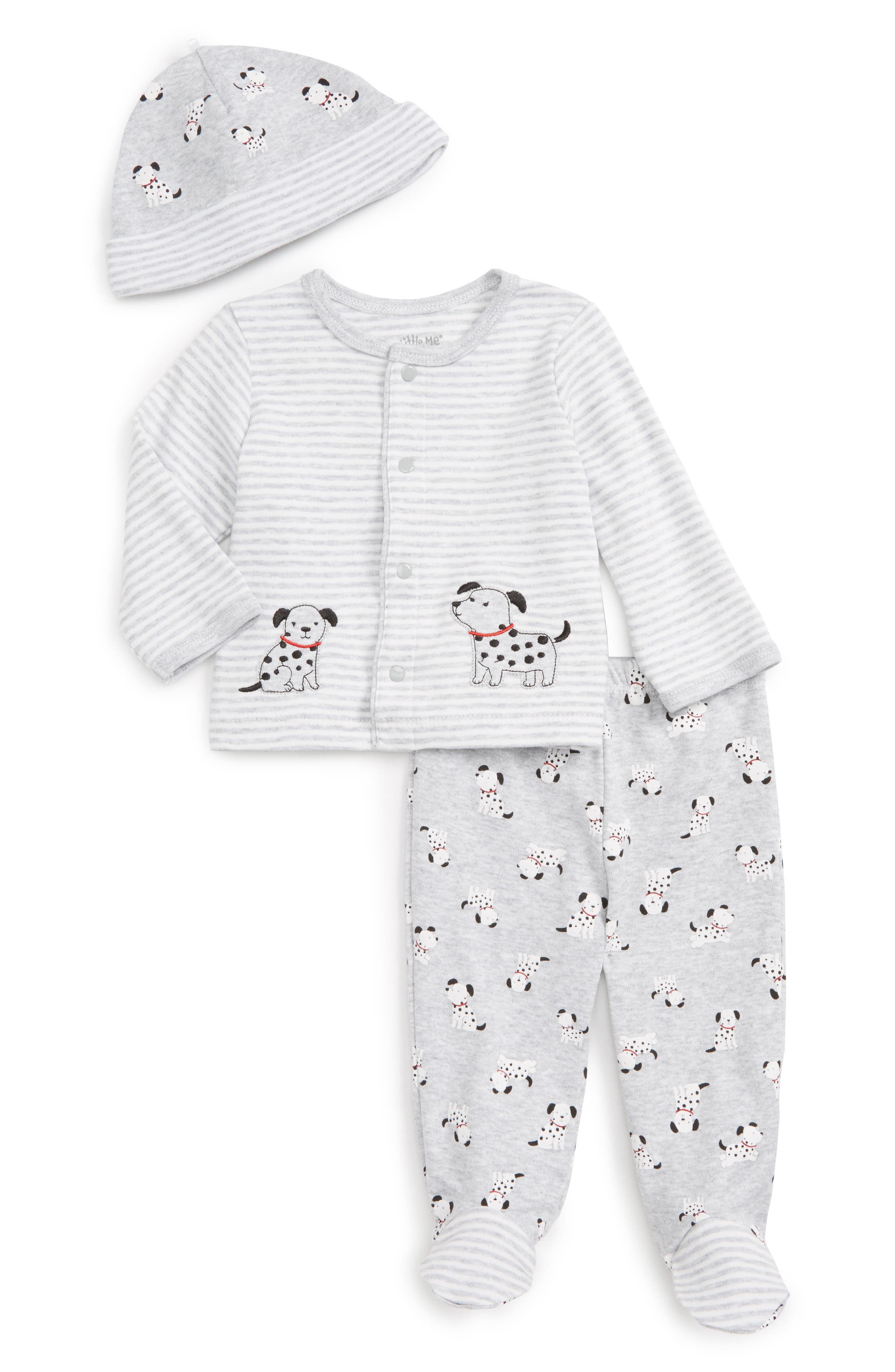 Little Me Dalmation Cardigan, Pants & Hat Set (Baby Boys)