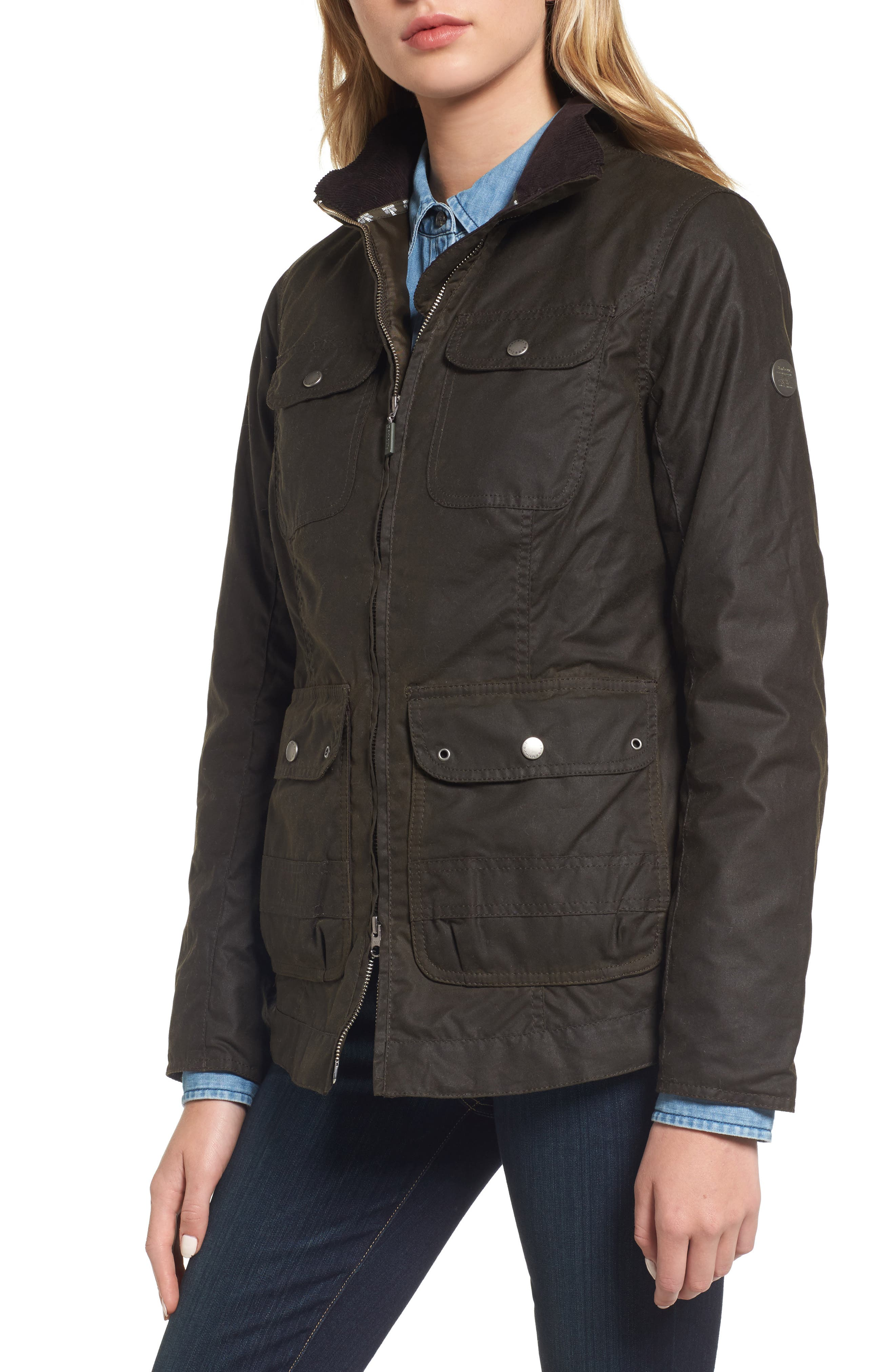 Filey Water Resistant Waxed Canvas Jacket,                             Alternate thumbnail 4, color,                             Olive