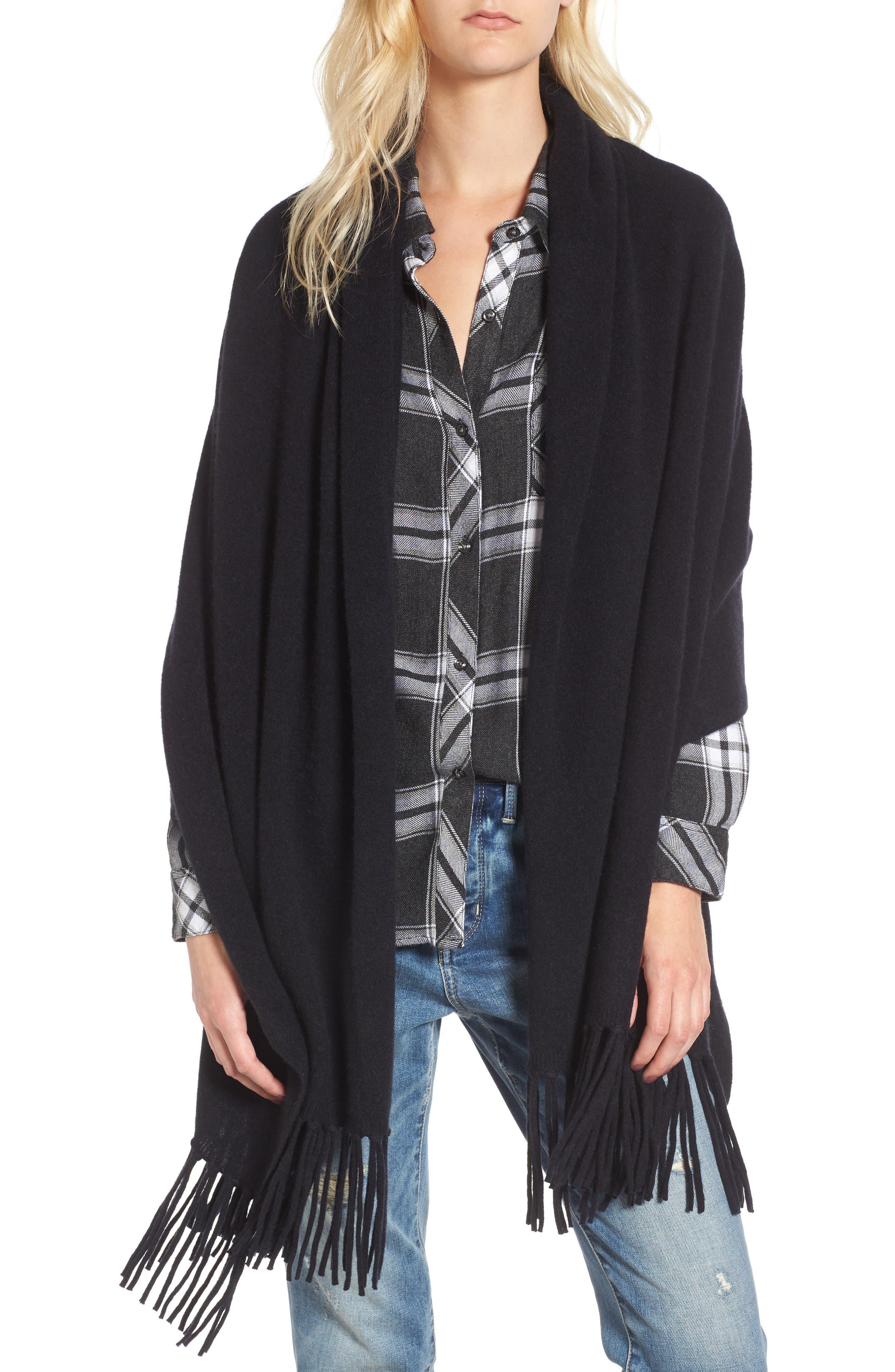 Collection Fringe Cashmere Wrap,                         Main,                         color, Black