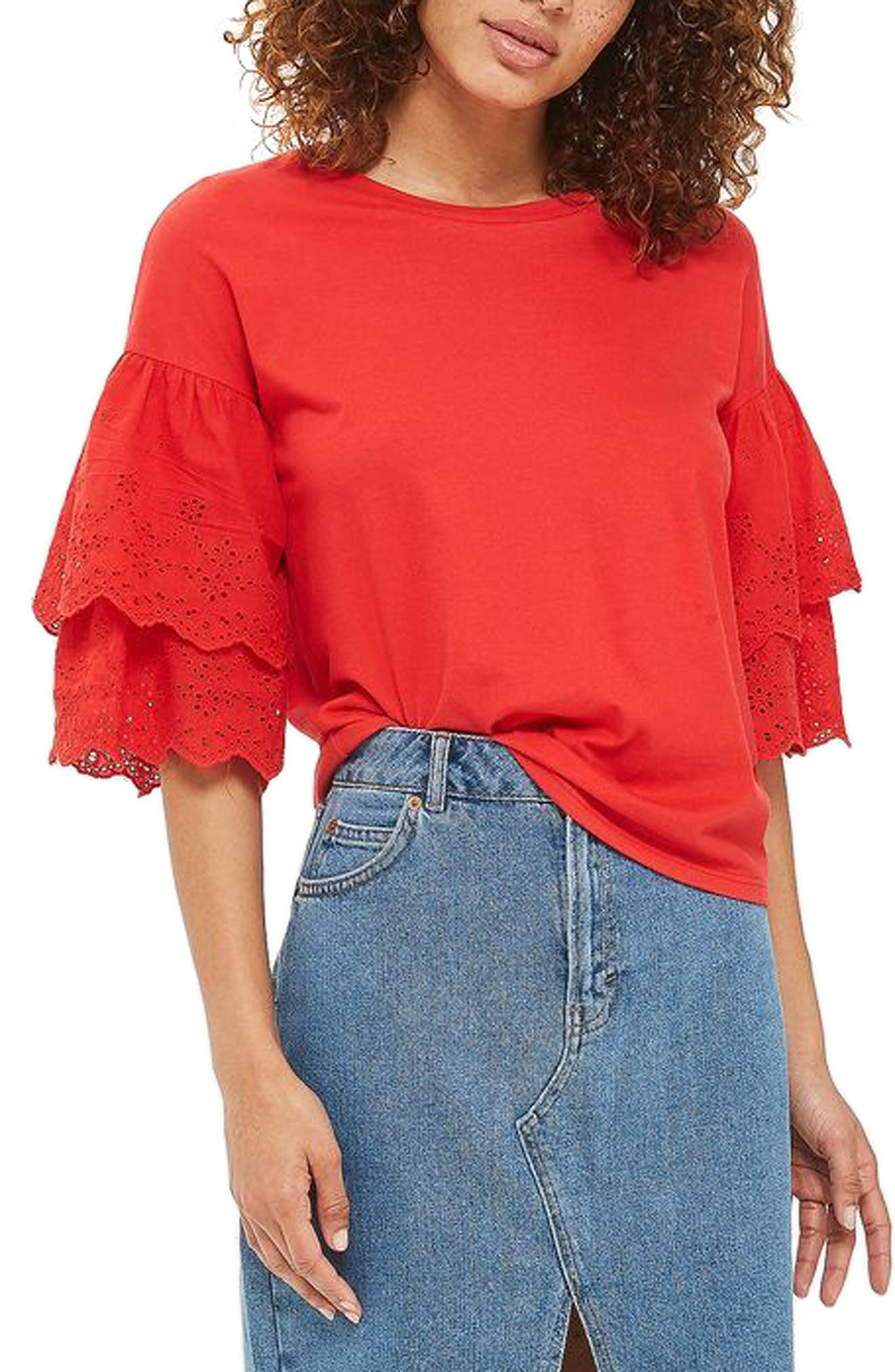 Main Image - Topshop Eyelet Layer Sleeve Tee T-Shirt (Regular & Petite)