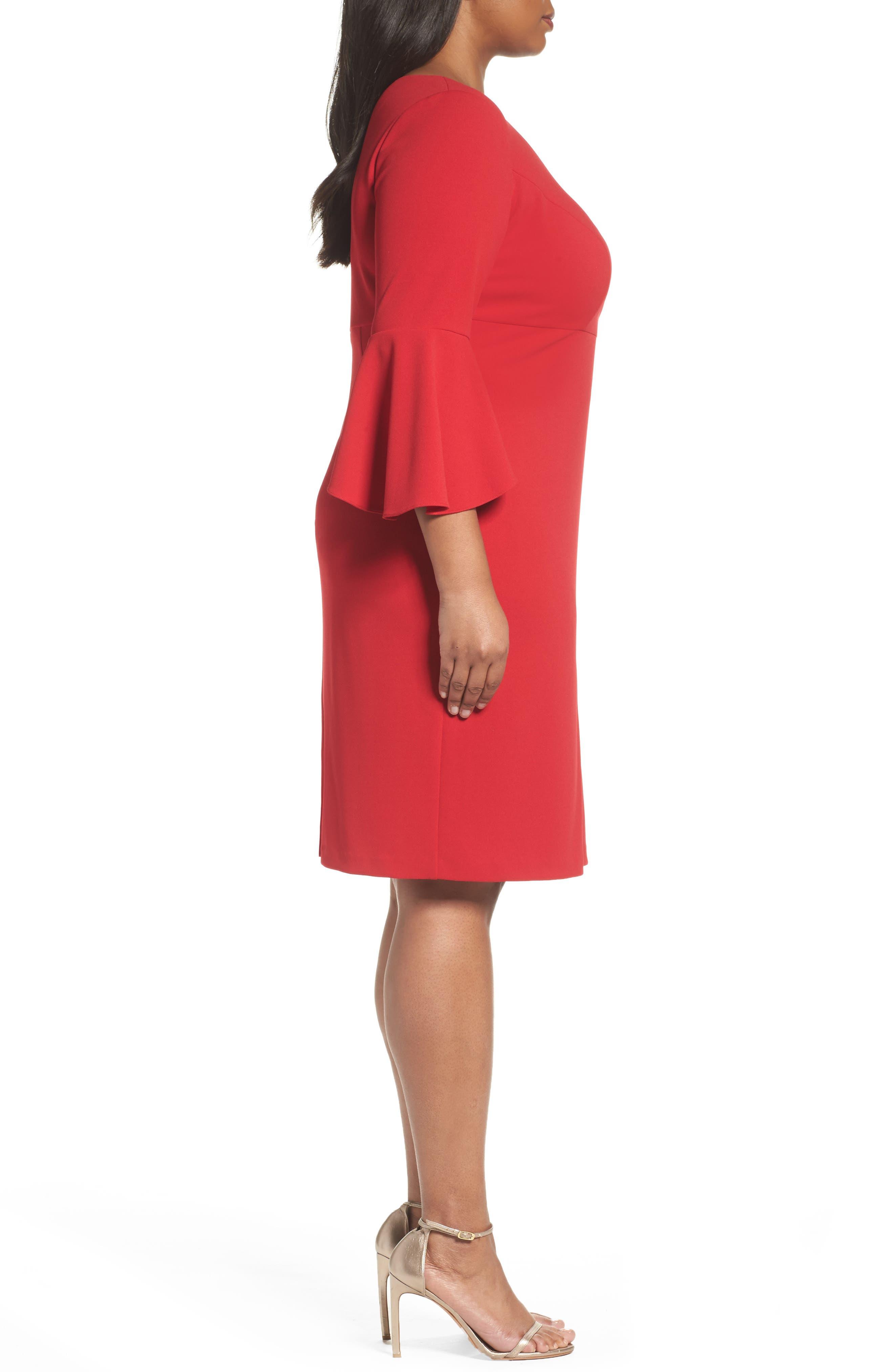 Bell Sleeve Sheath Dress,                             Alternate thumbnail 3, color,                             Apple Red