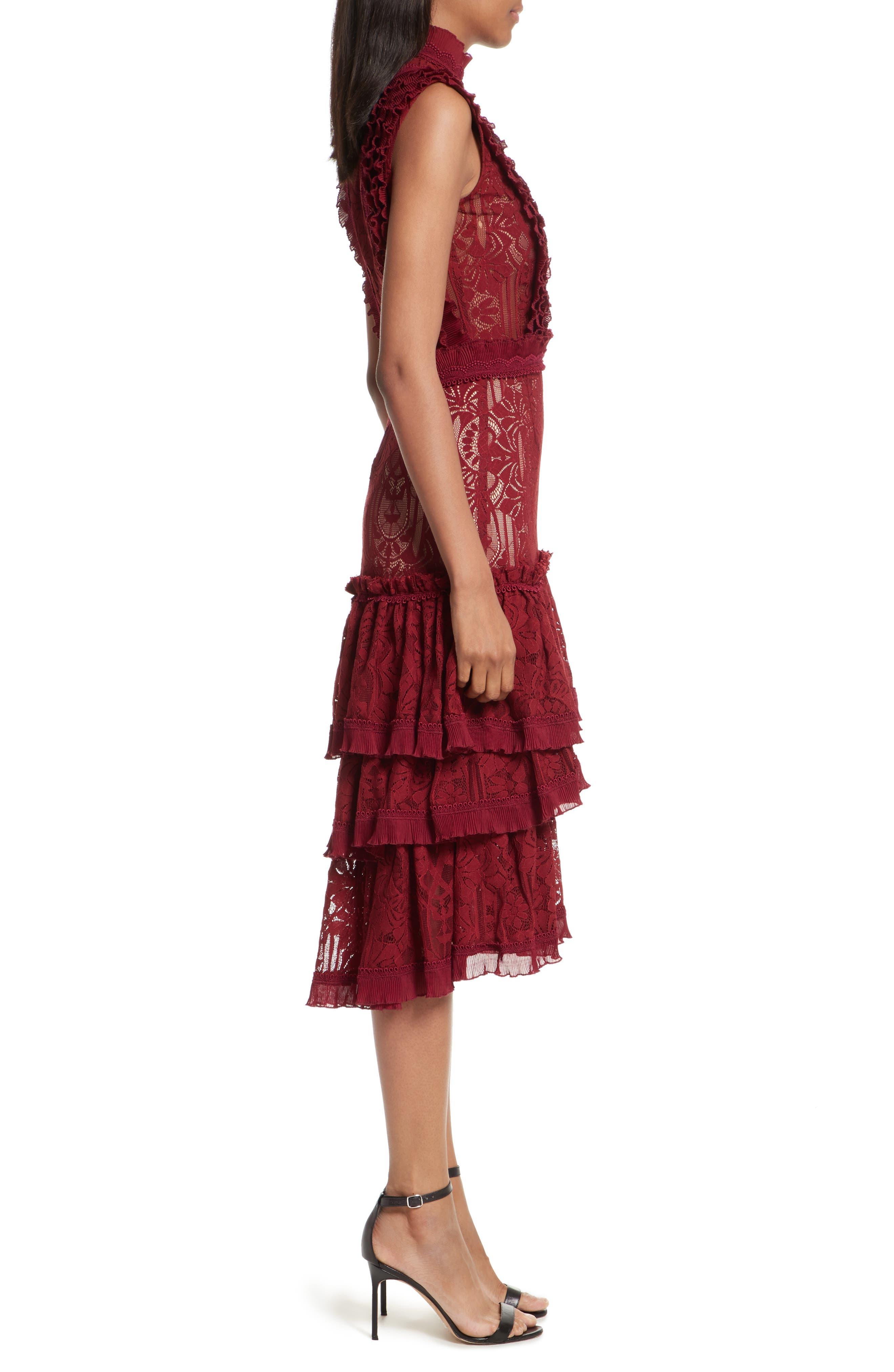 Tower Mesh Lace Ruffled Dress,                             Alternate thumbnail 3, color,                             Cabernet