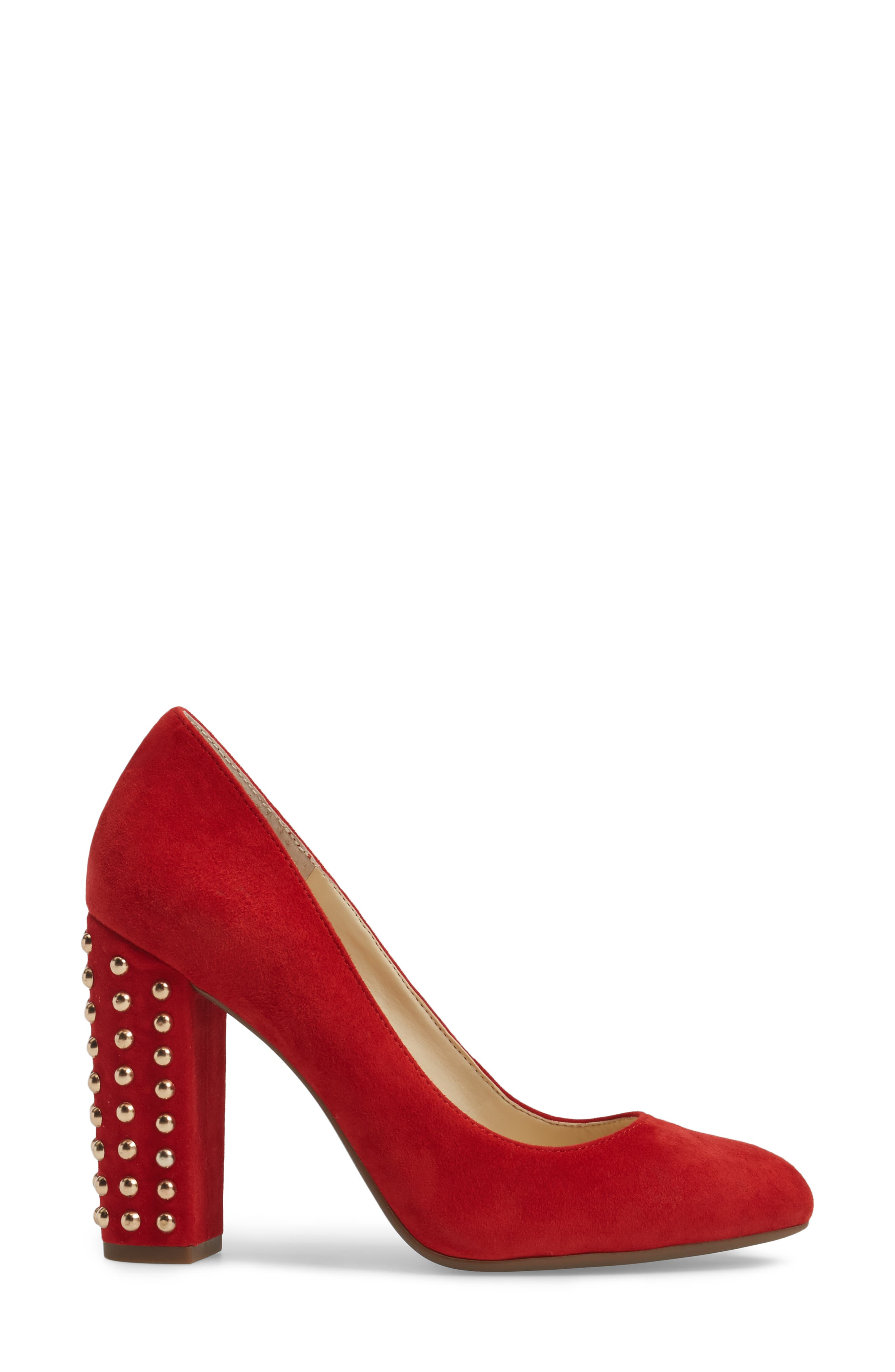 Bainer Block Heel Pump,                             Alternate thumbnail 3, color,                             Red Muse Suede