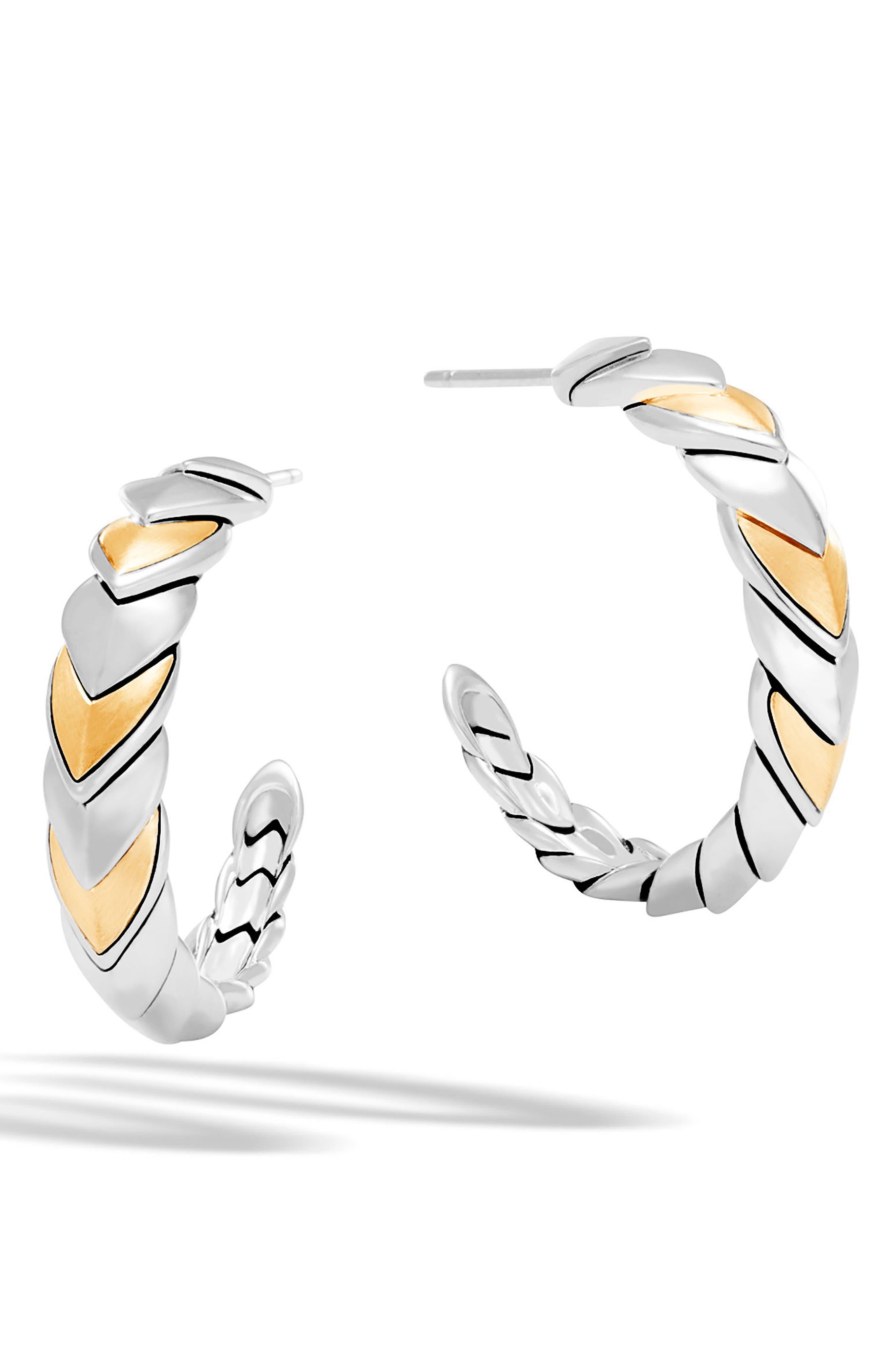 Legends Naga Hoop Earrings,                         Main,                         color, Silver/ Gold