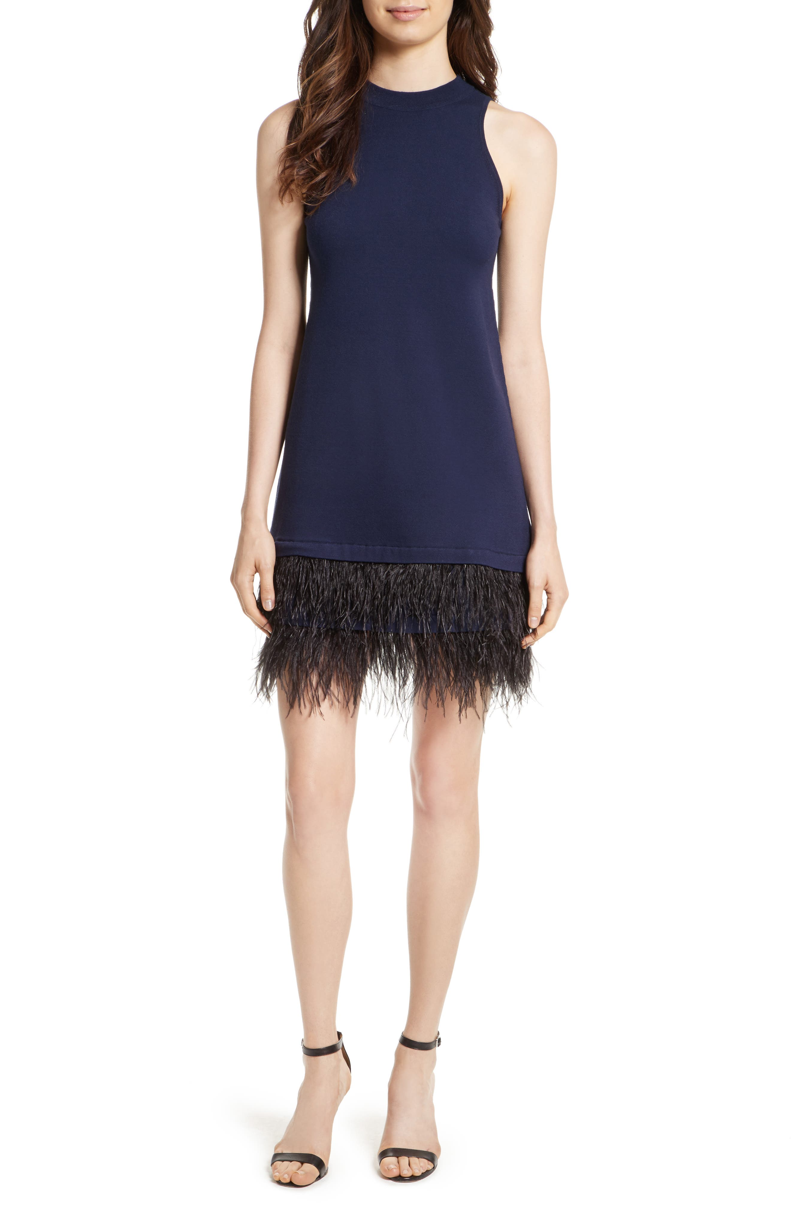 Feather Hem Shift Dress,                         Main,                         color, Navy