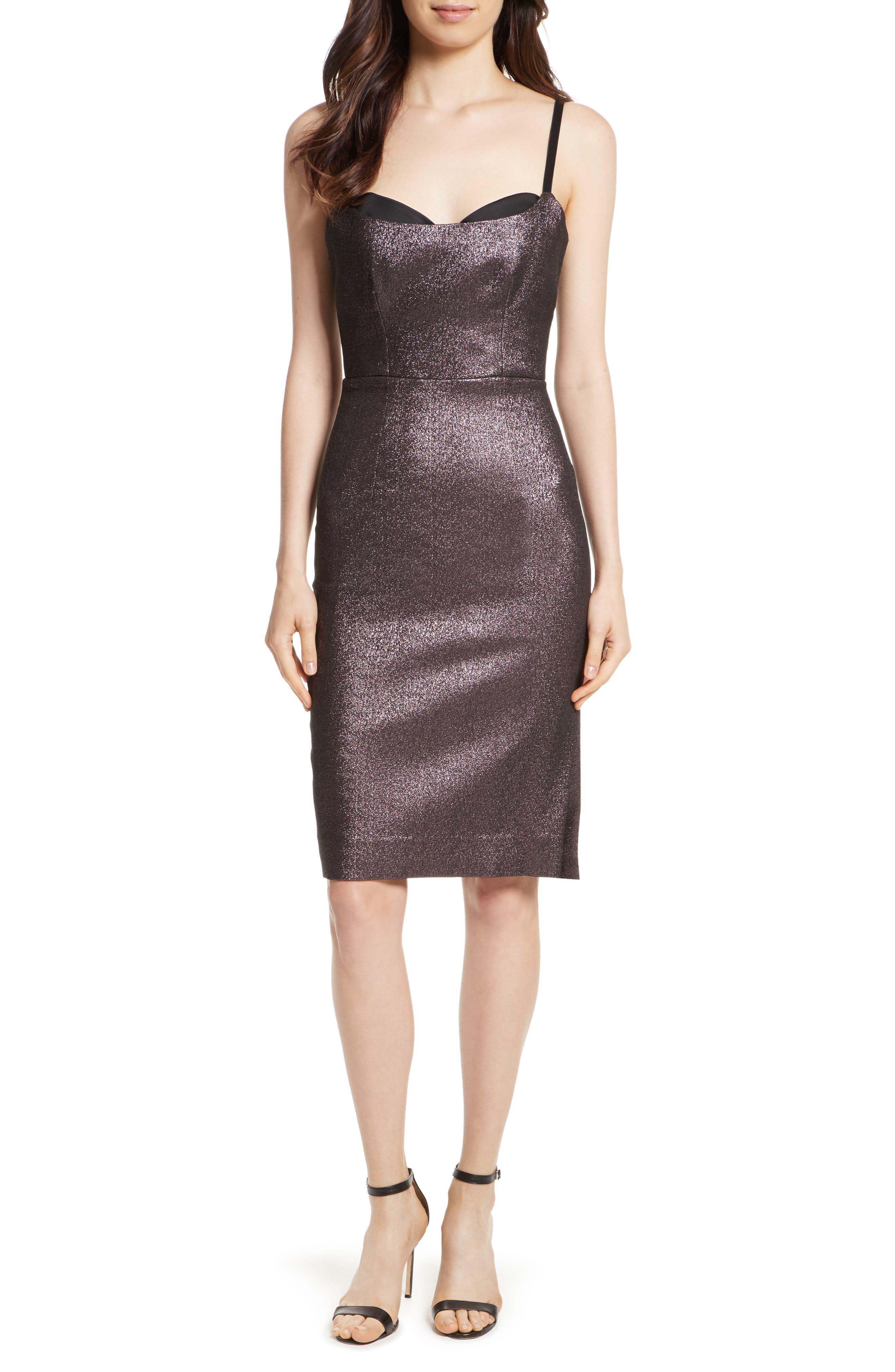 Tara Stretch Metallic Sheath Dress,                             Main thumbnail 1, color,                             Ballet