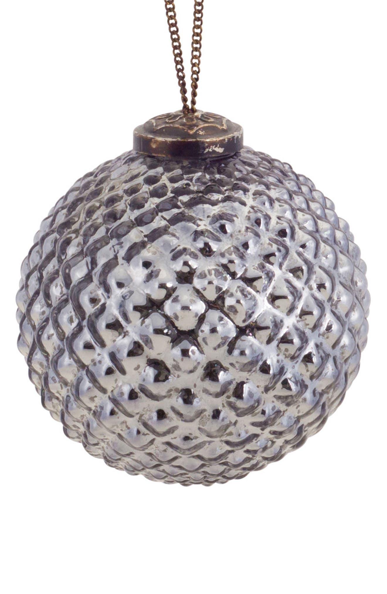 Round Glass Ornament,                         Main,                         color, Grey