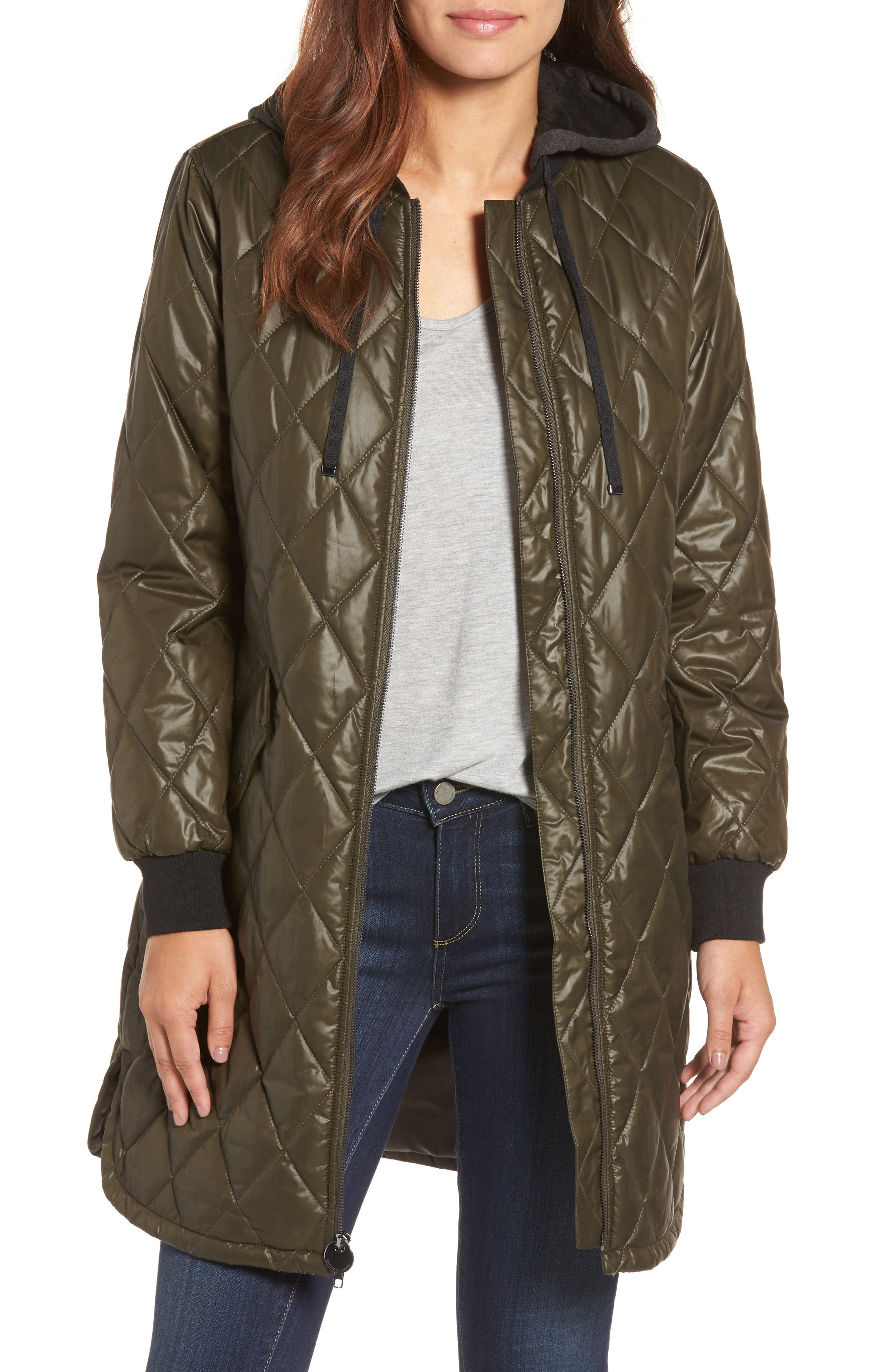 Quilted Jacket,                         Main,                         color, Olive