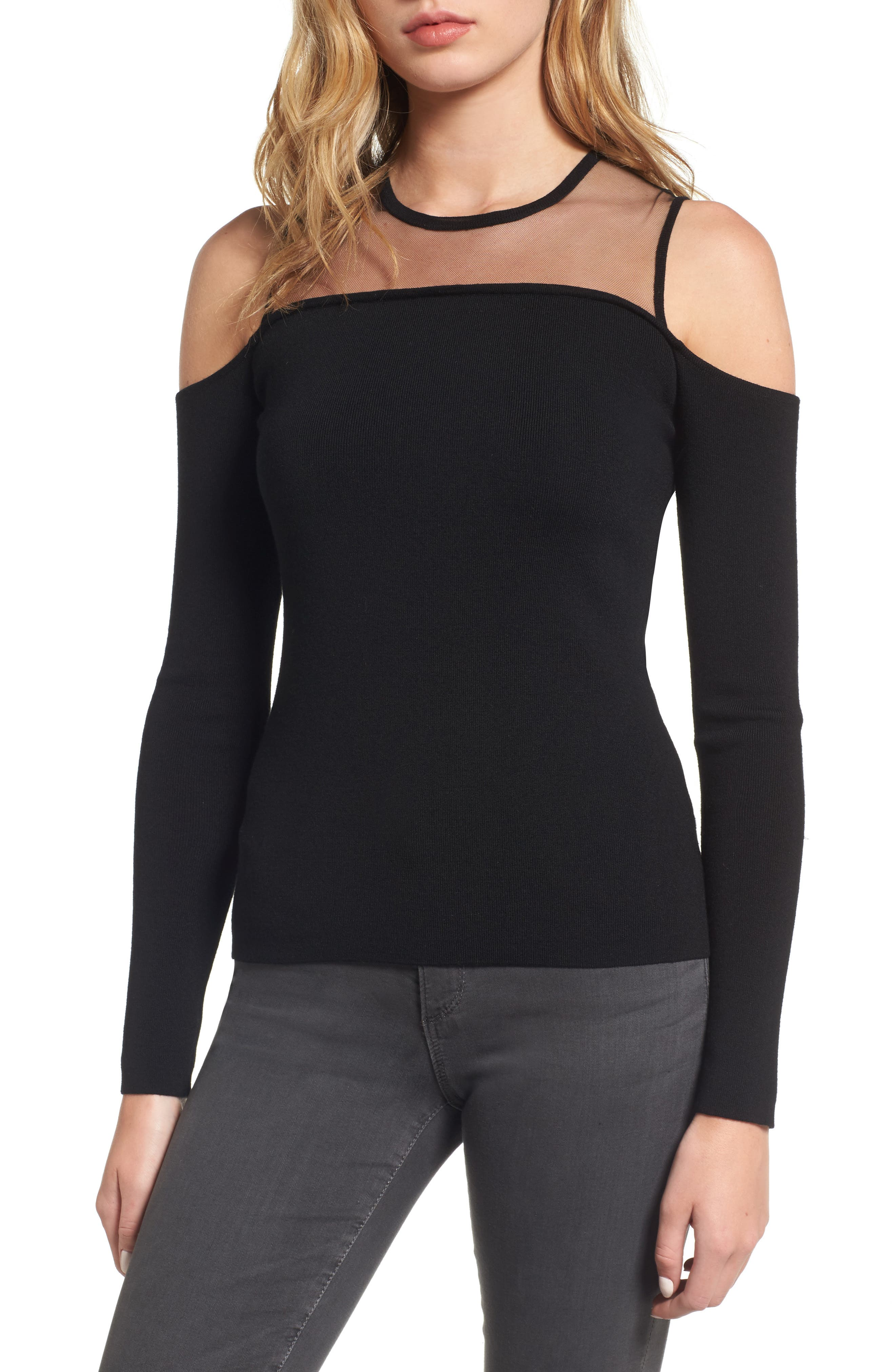 Swallowed Whole Cold Shoulder Sweater,                         Main,                         color, Black