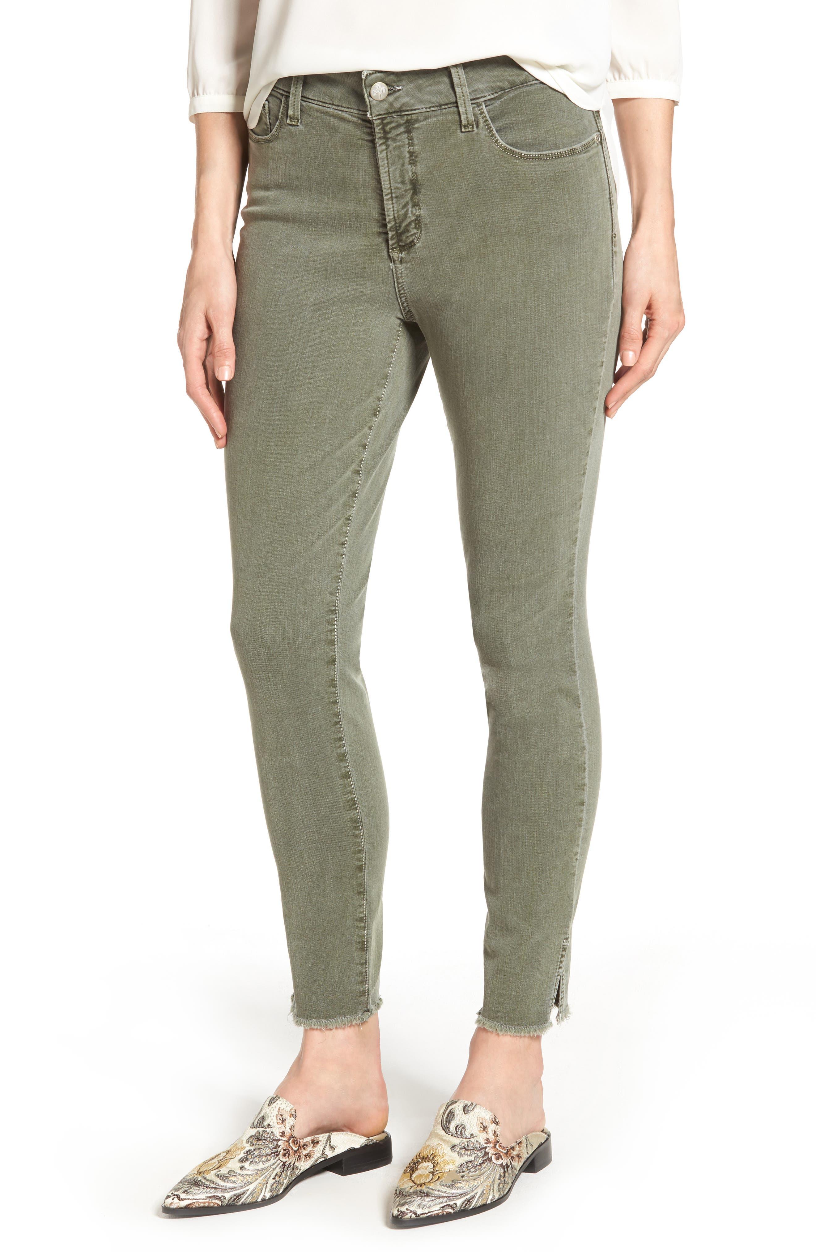 Ami Frayed Hem Stretch Skinny Ankle Jeans,                         Main,                         color, Fatigue