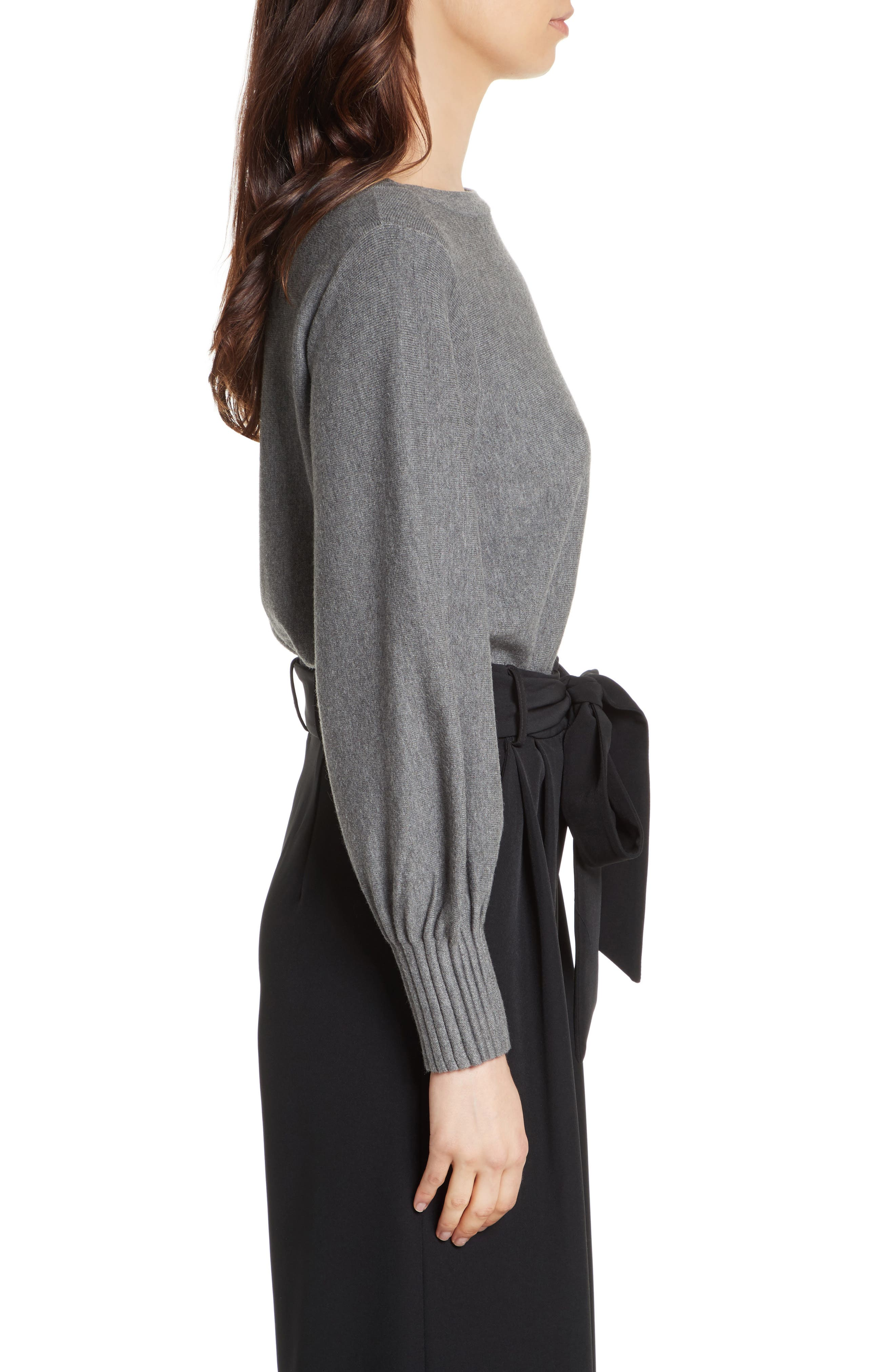 Couture Pintuck Pullover,                             Alternate thumbnail 4, color,                             Heather Grey