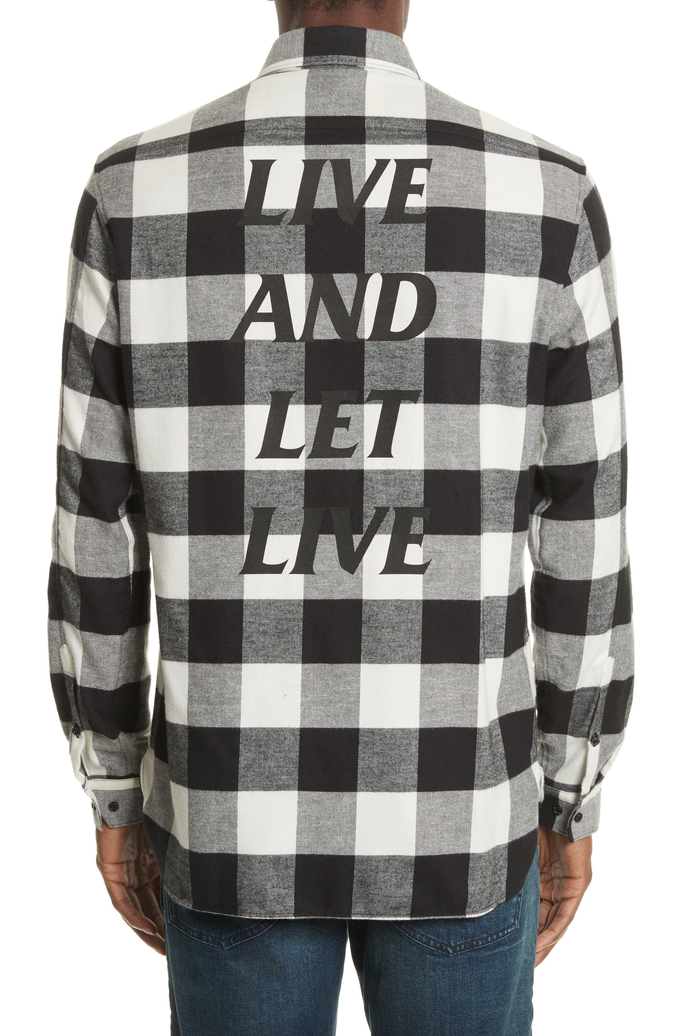 Live and Let Live Plaid Flannel Sport Shirt,                             Alternate thumbnail 2, color,                             Black/ Off White