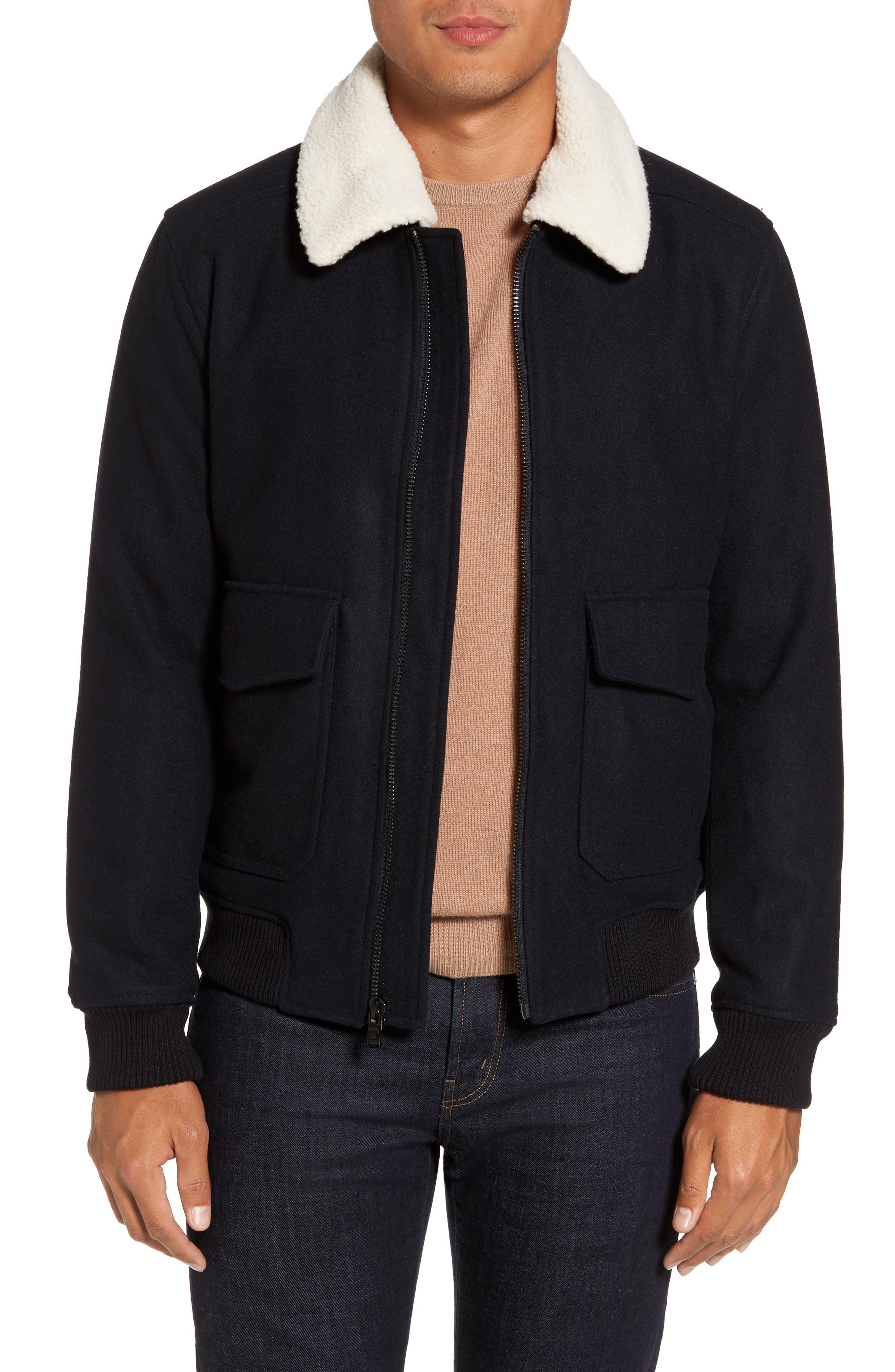 Fleece Collar Wool Blend A-2 Jacket,                             Main thumbnail 1, color,                             Officer Navy
