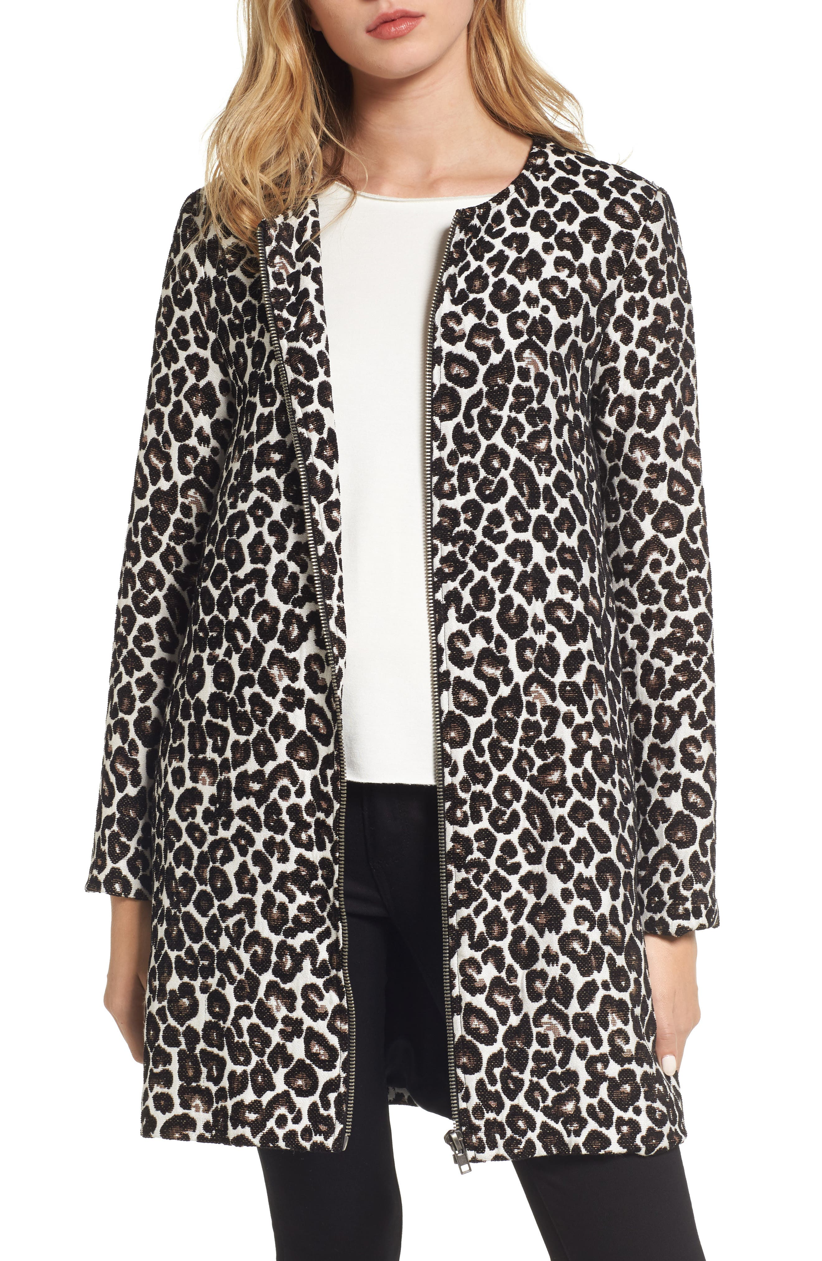 Main Image - cupcakes and cashmere Adeltia Leopard Print Jacket