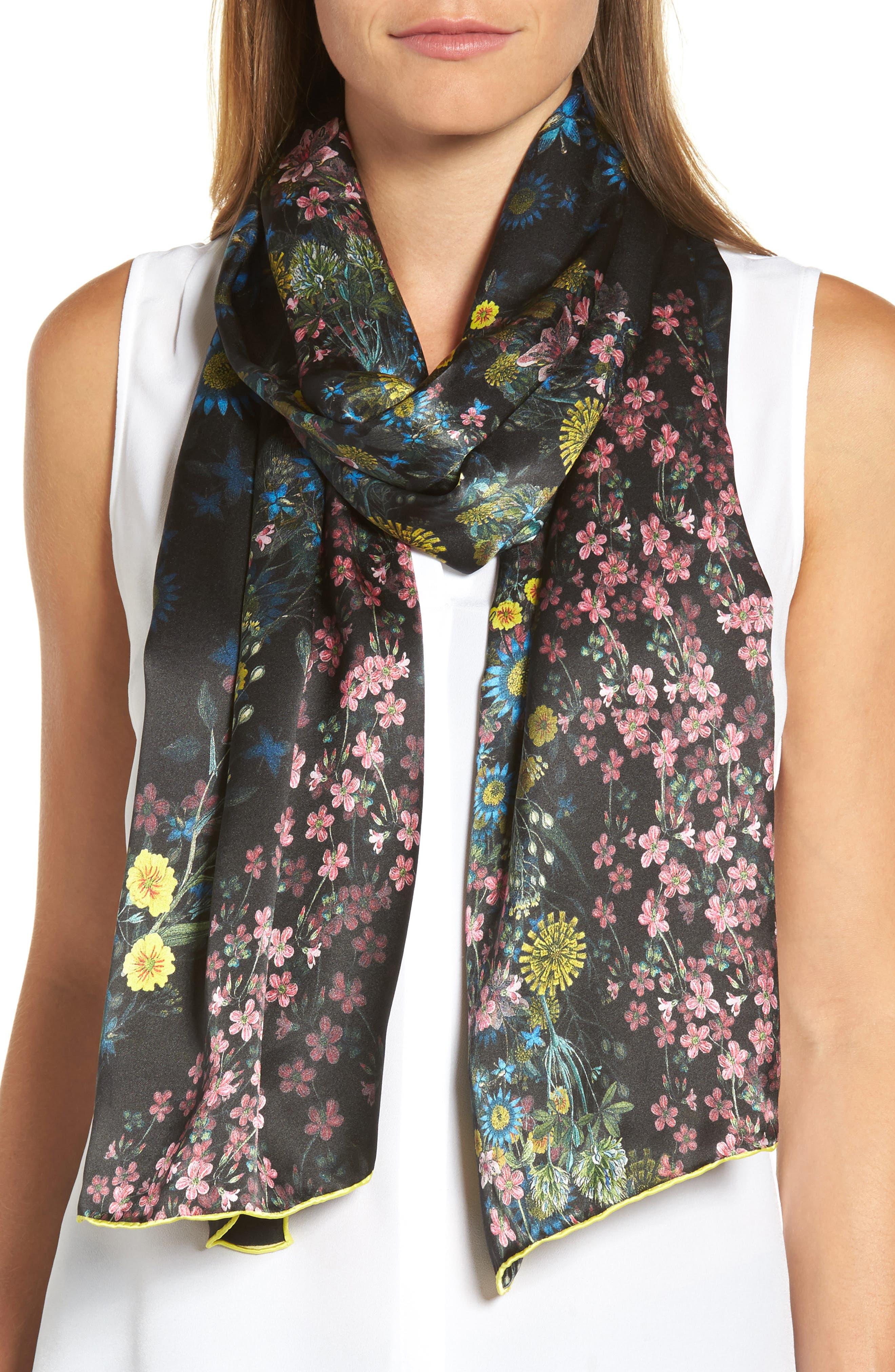 Unity Floral Silk Scarf,                         Main,                         color, Black