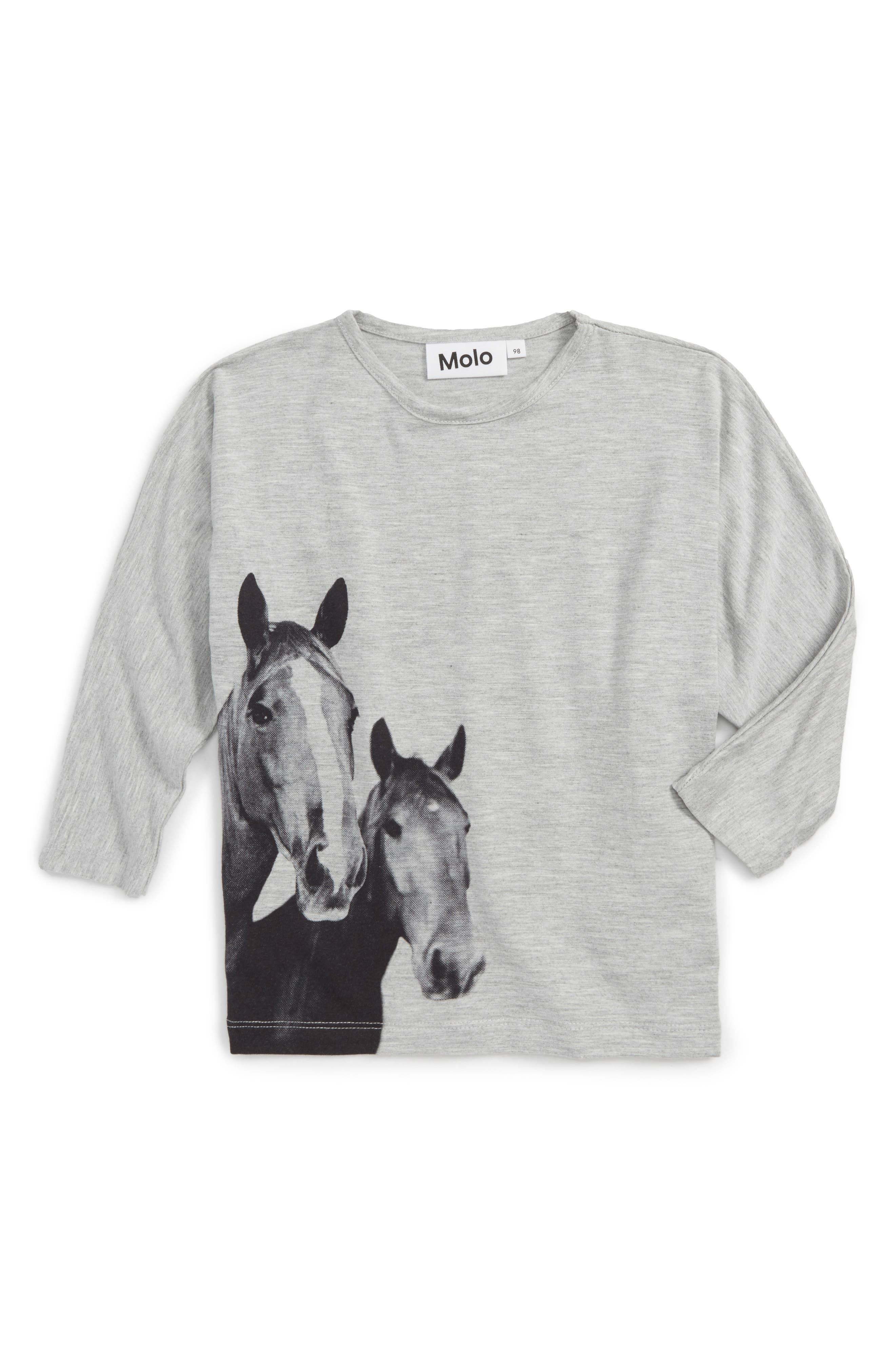 Rosey Horse Graphic Tee,                         Main,                         color, Grey