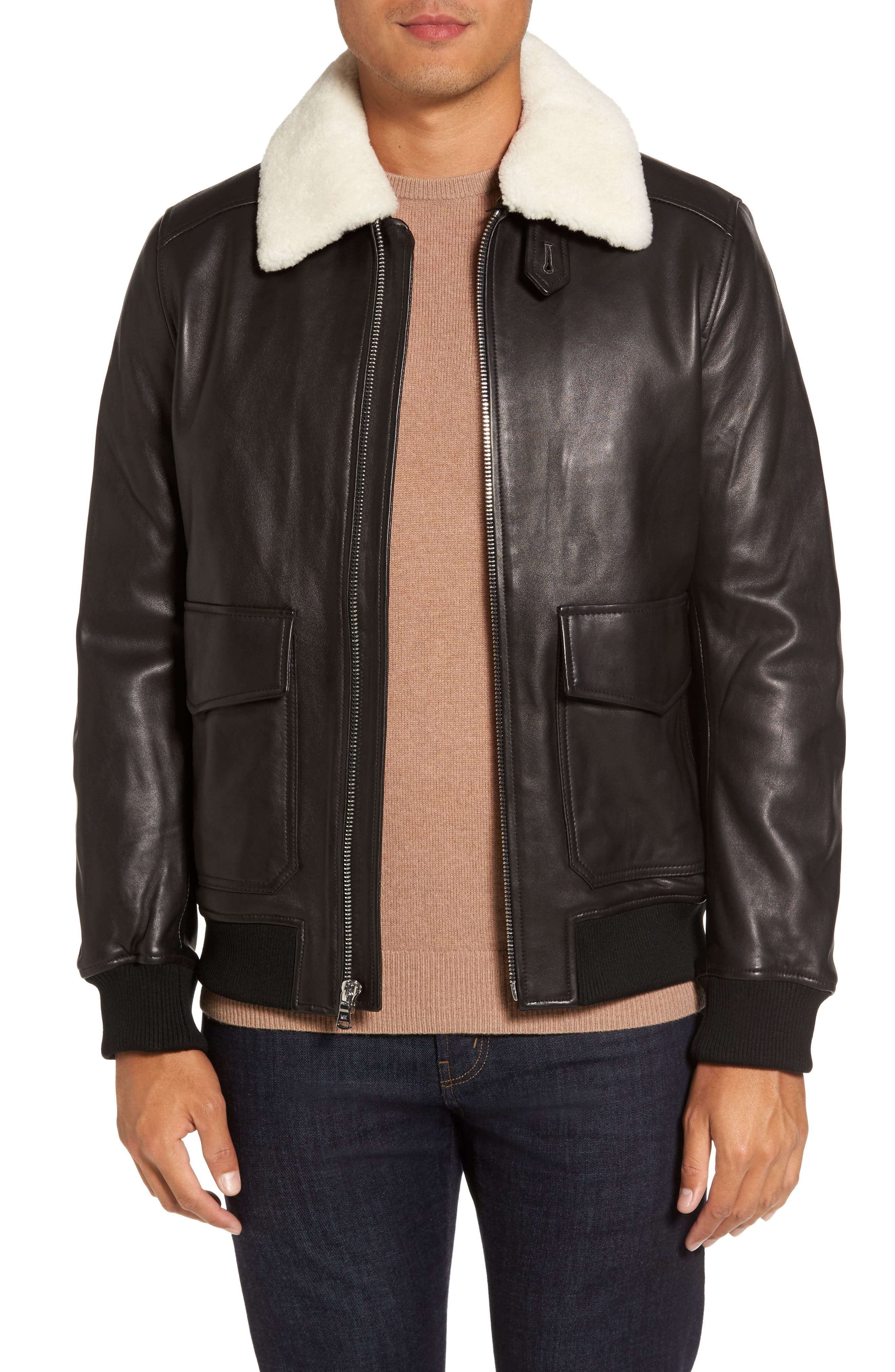 Michael Kors Prima Genuine Lamb Shearling Flight Jacket