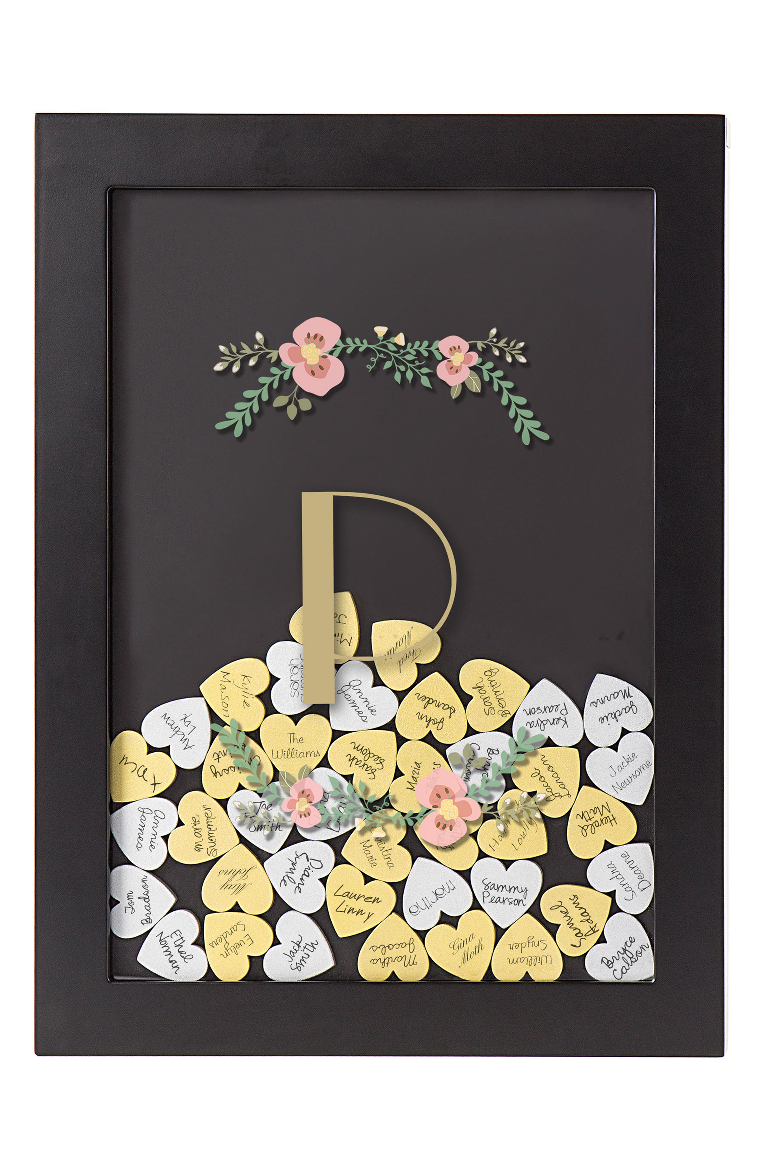 Alternate Image 1 Selected - Cathy's Concepts Monogram Heart Drop Guestbook