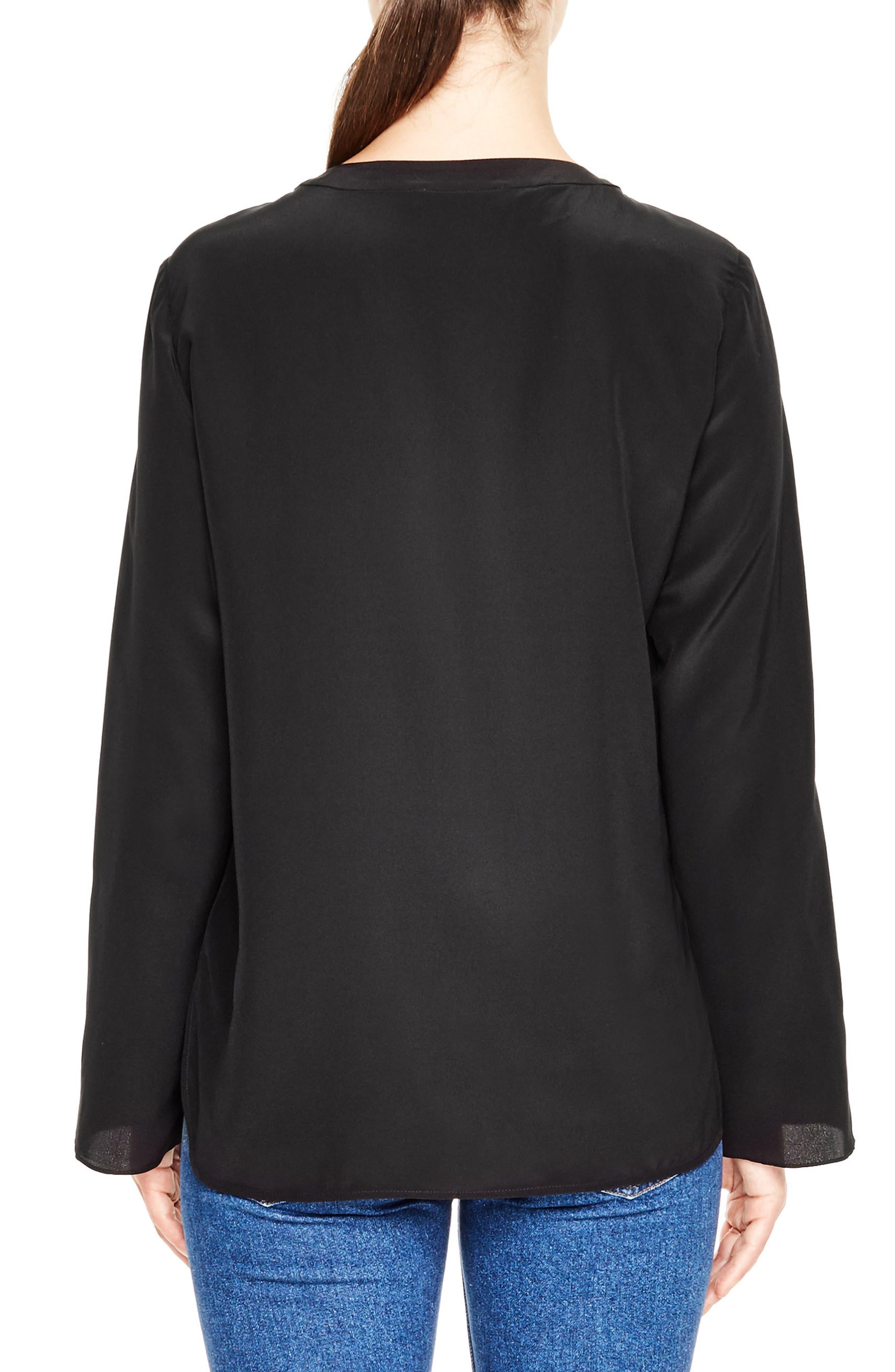 Lace-Up Tie Silk Top,                             Alternate thumbnail 2, color,                             Black