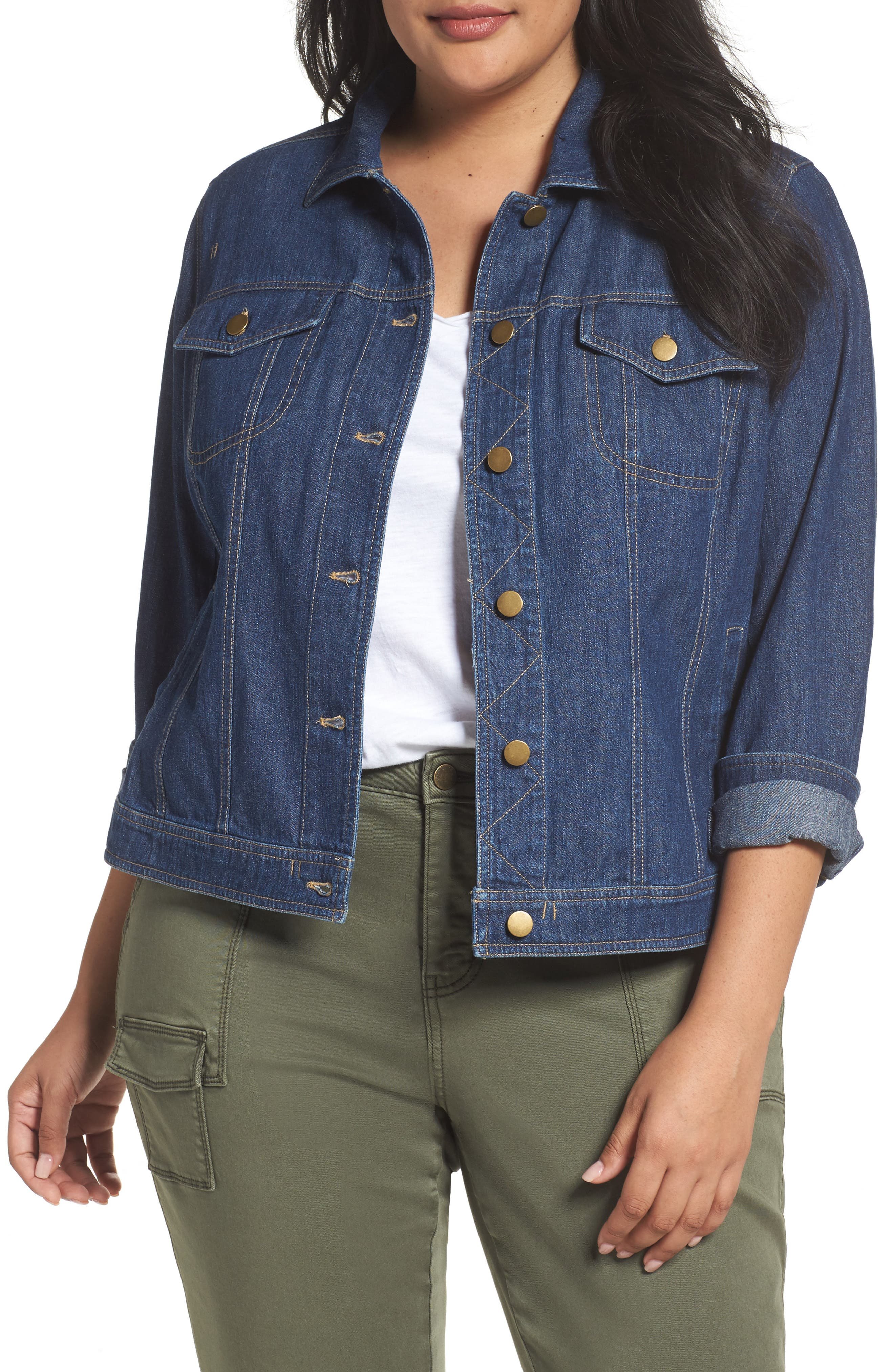Alternate Image 1 Selected - Sejour Denim Jacket (Plus Size)
