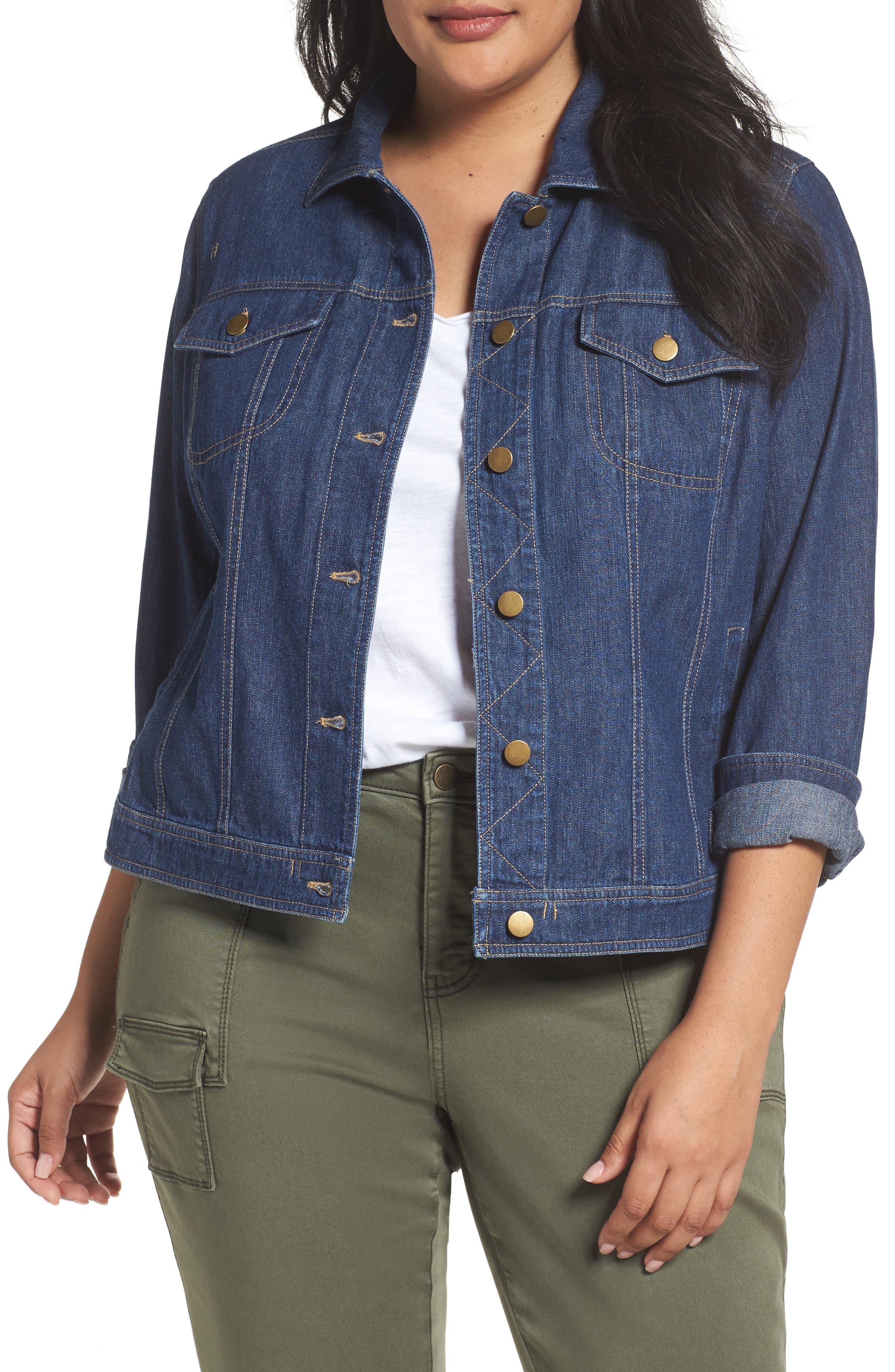 Main Image - Sejour Denim Jacket (Plus Size)