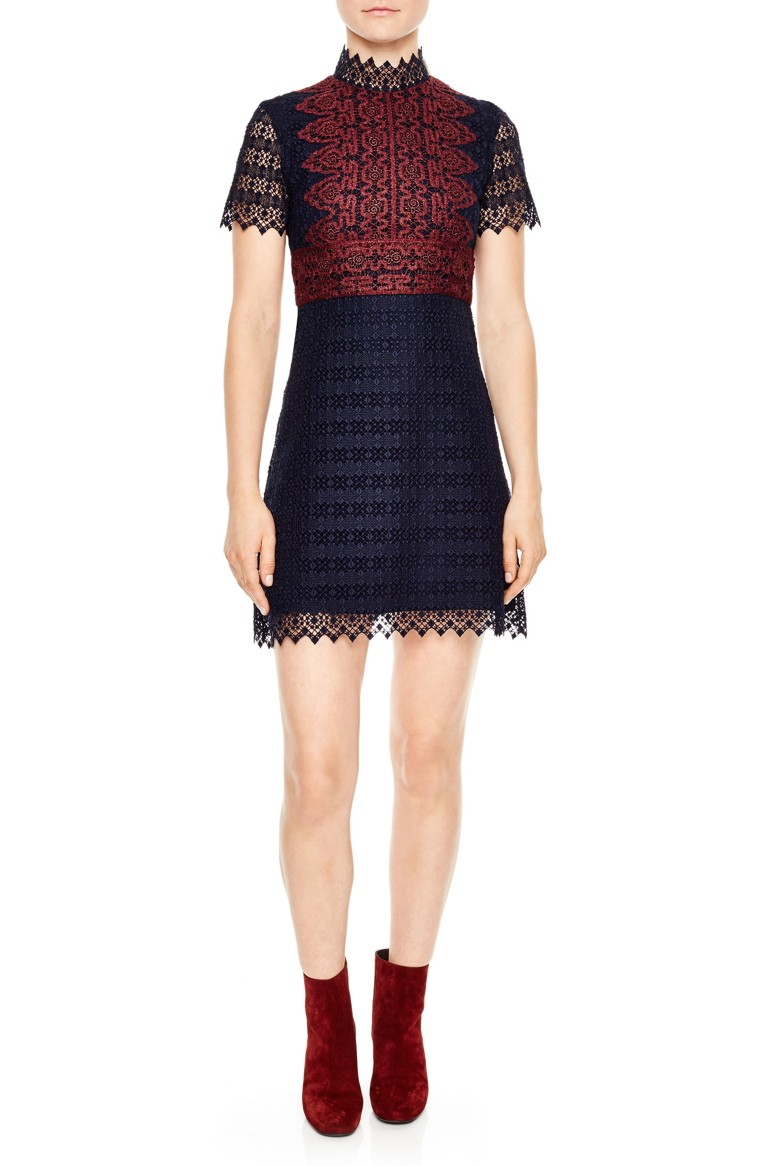 Alternate Image 1 Selected - sandro Mixed Lace A-Line Dress