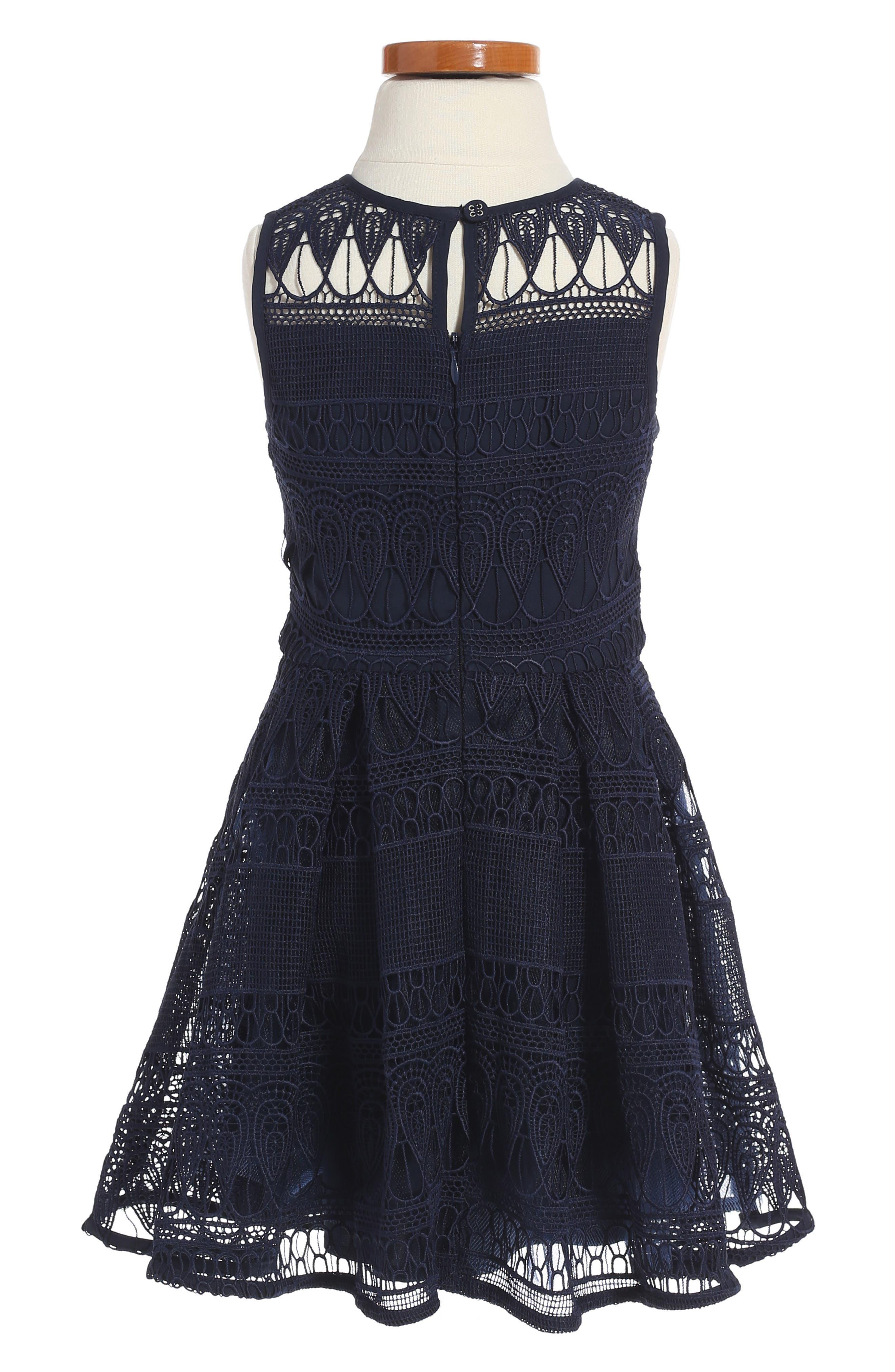 Junior Linear Lace Dress,                             Alternate thumbnail 2, color,                             Navy