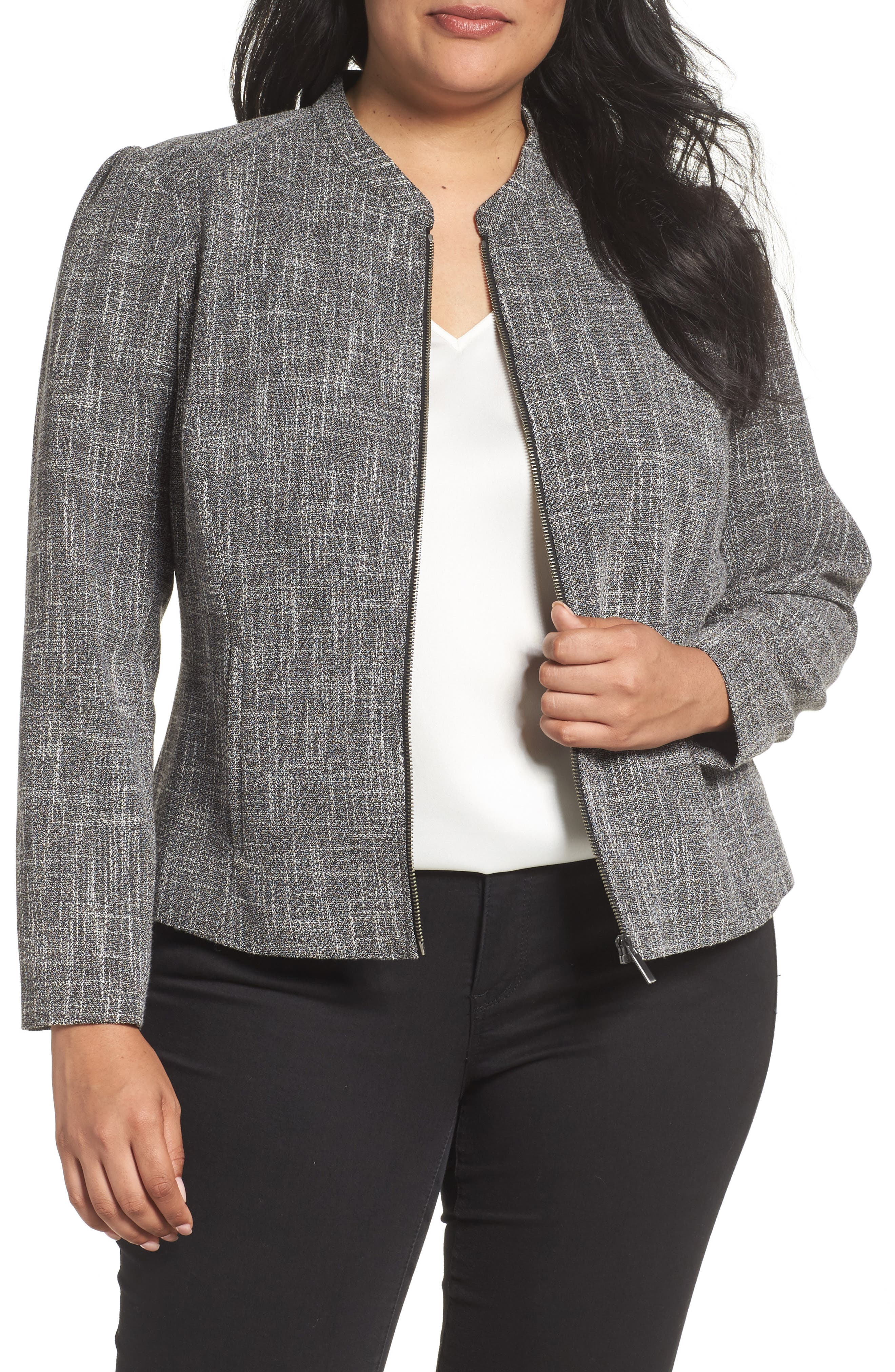 Sejour Fitted Tweed Jacket (Plus Size)