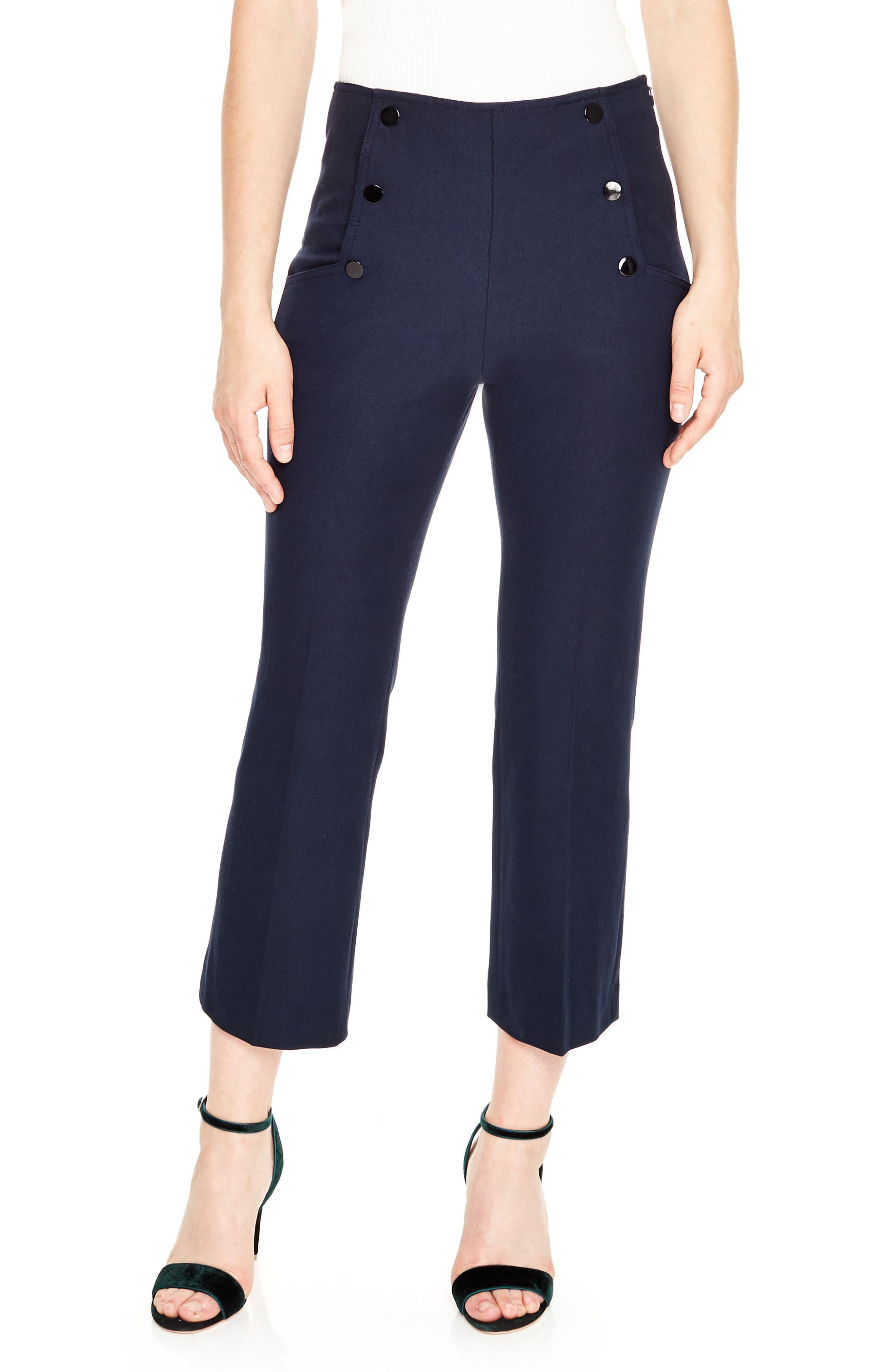 Button Detail Crop Pants,                         Main,                         color, Navy