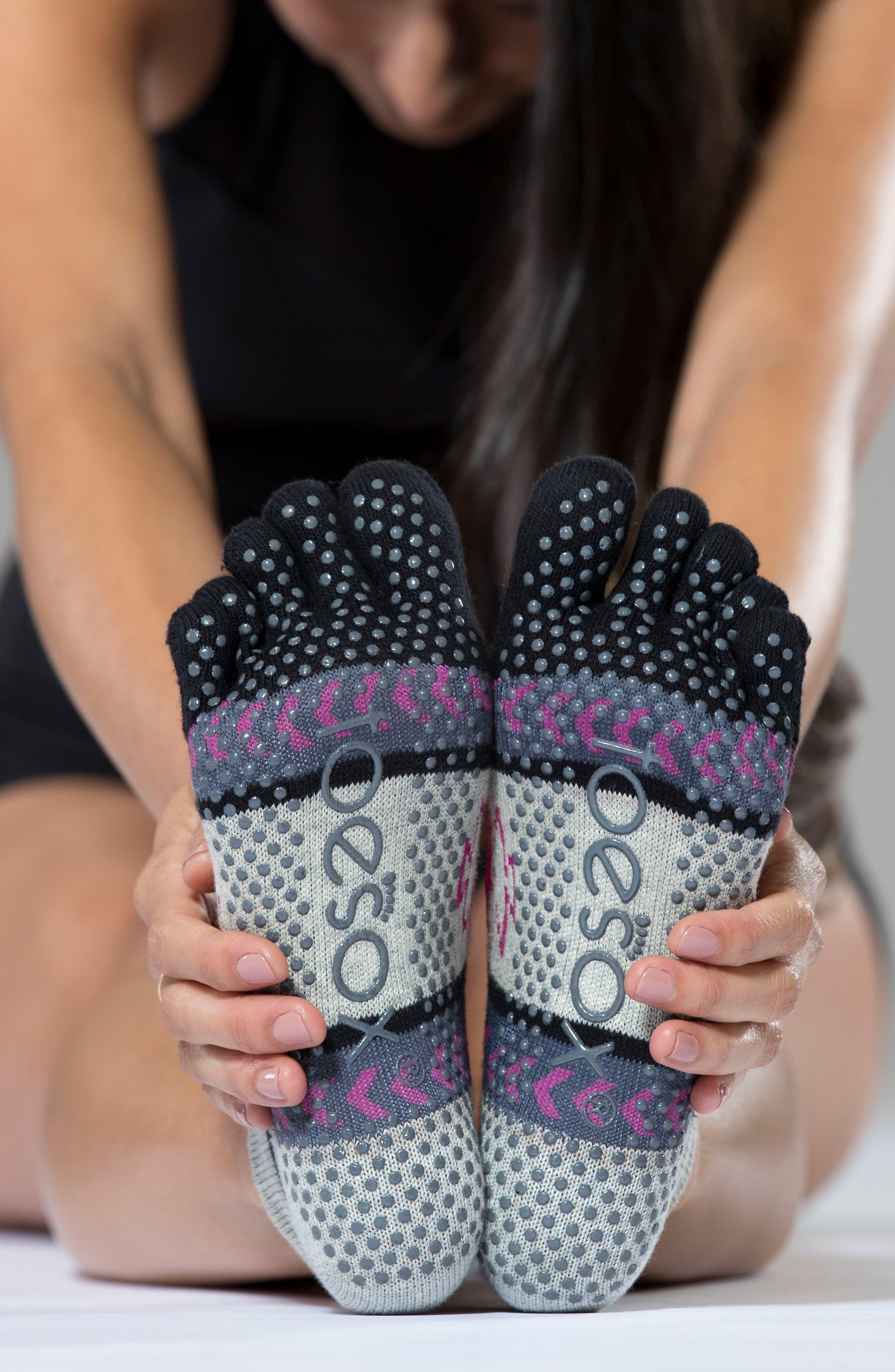 Full Toe Grip Socks,                             Alternate thumbnail 4, color,                             Moon Shadow