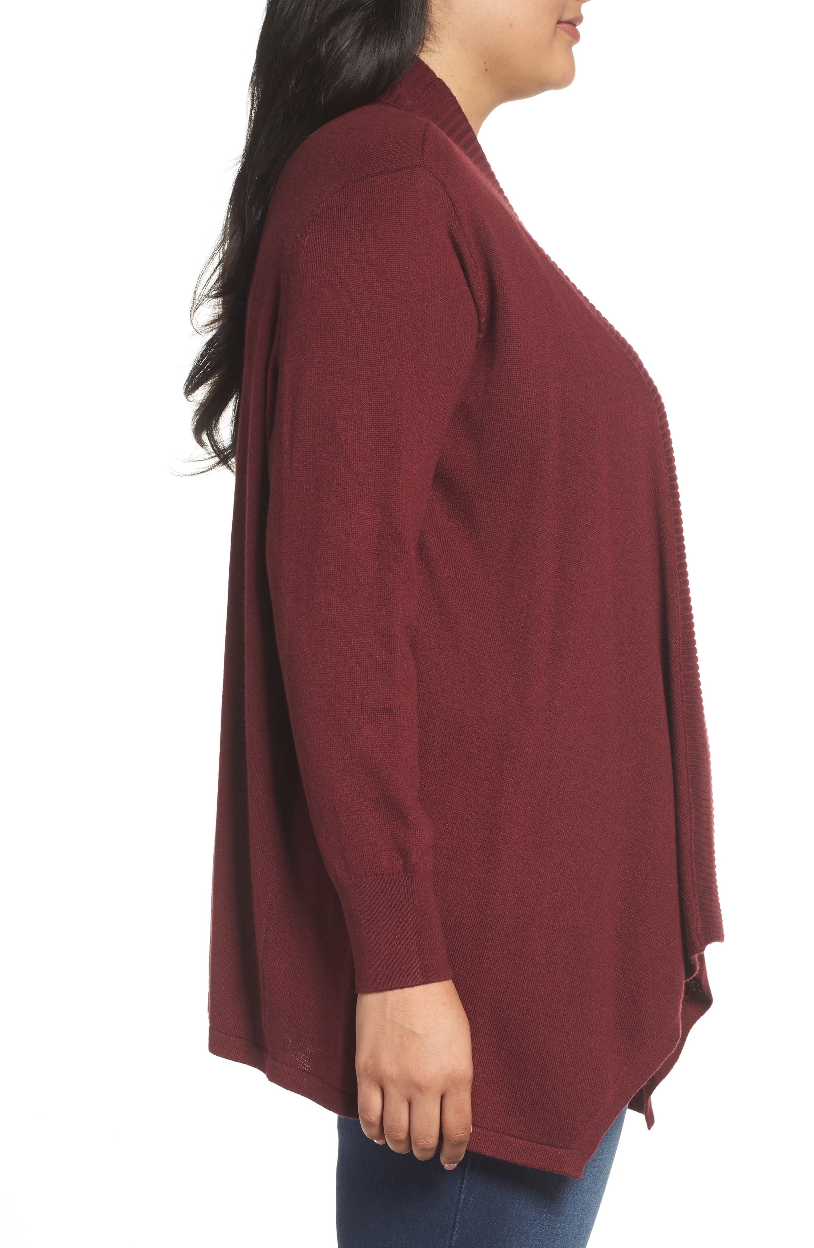 Cascade Open Front Cardigan,                             Alternate thumbnail 3, color,                             Red Tannin